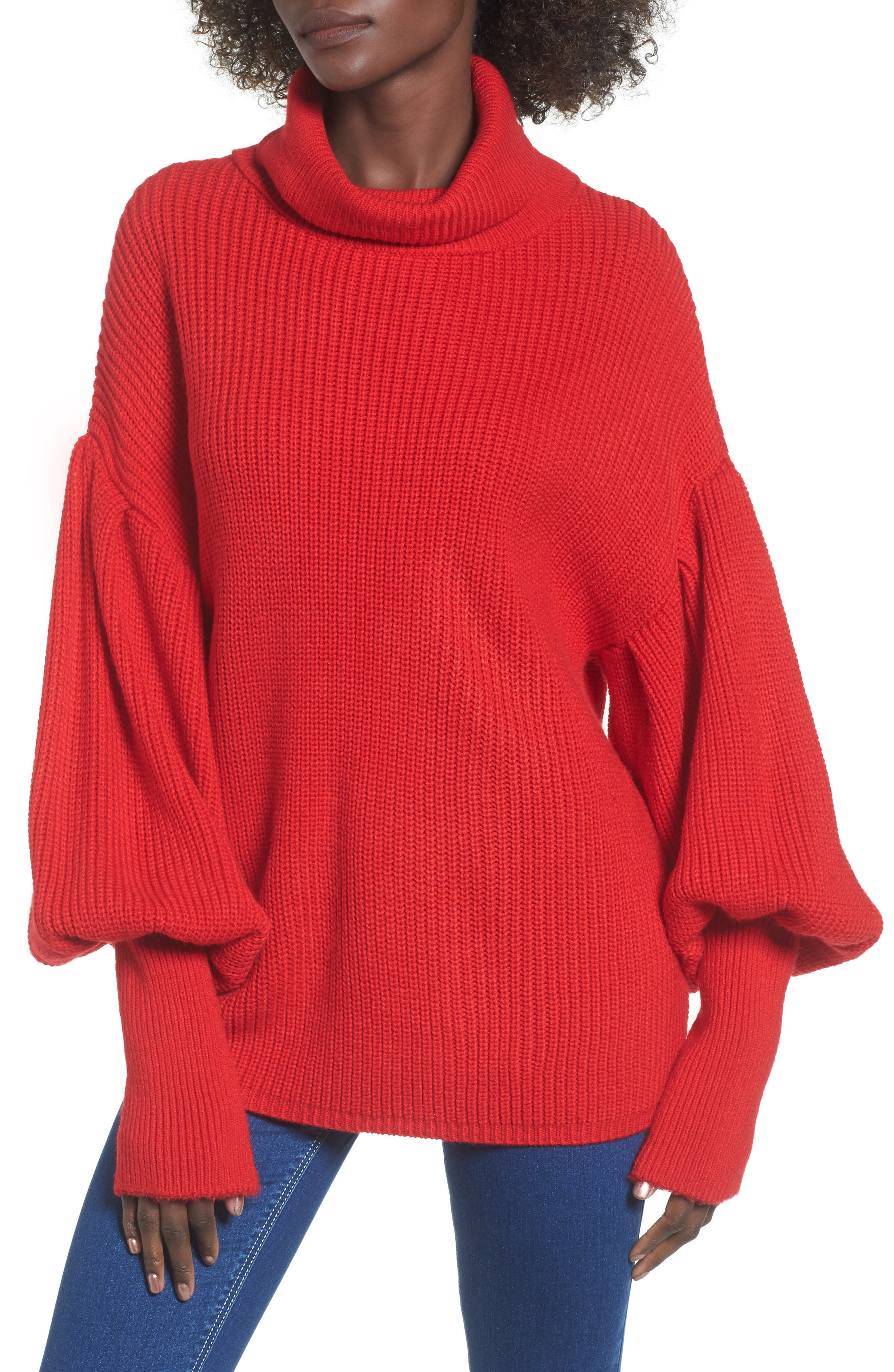 Balloon Sleeve Turtleneck Sweater,                         Main,                         color, Red
