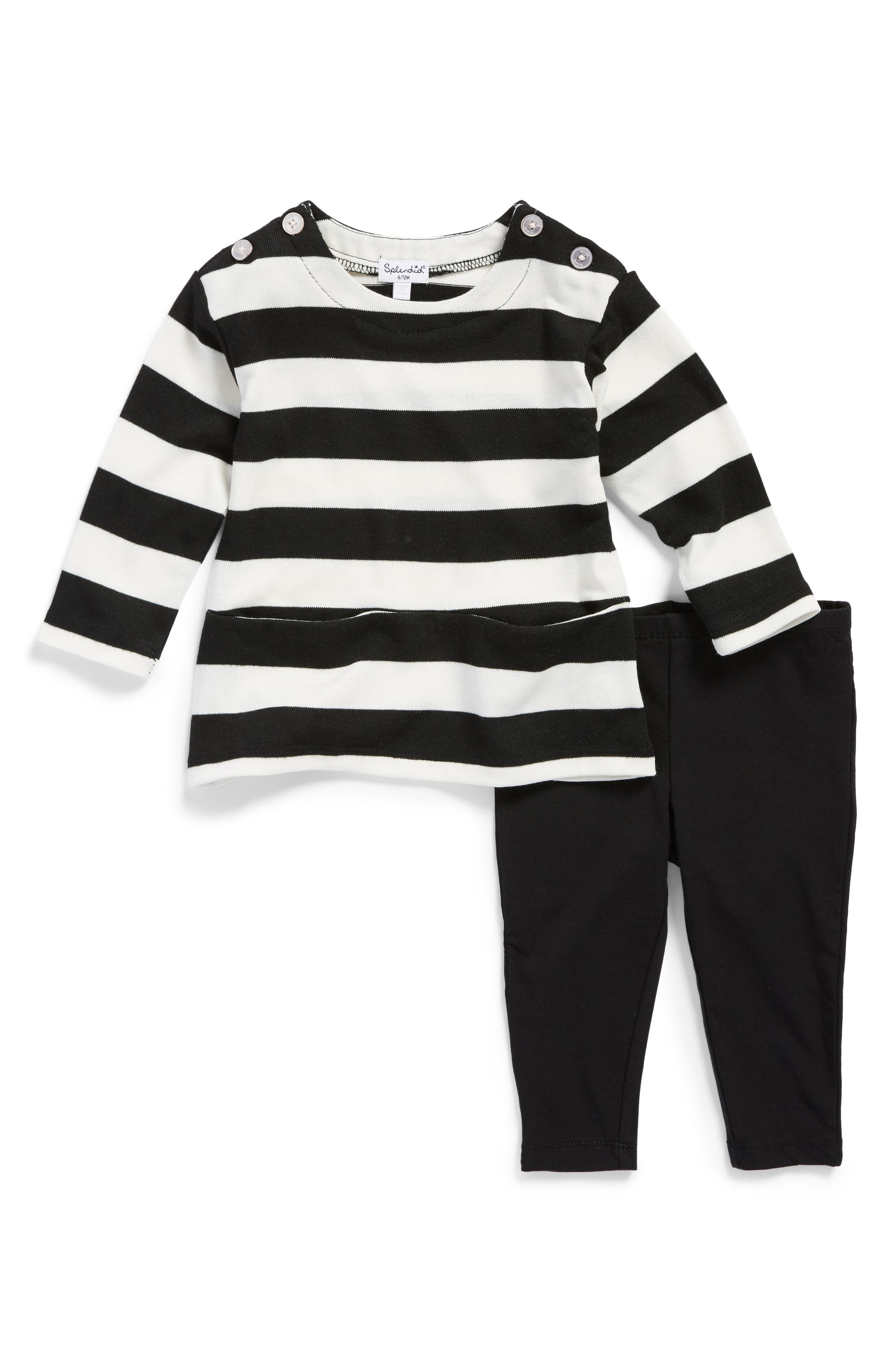 Main Image - Splendid Stripe Top & Leggings Set (Baby Girls)