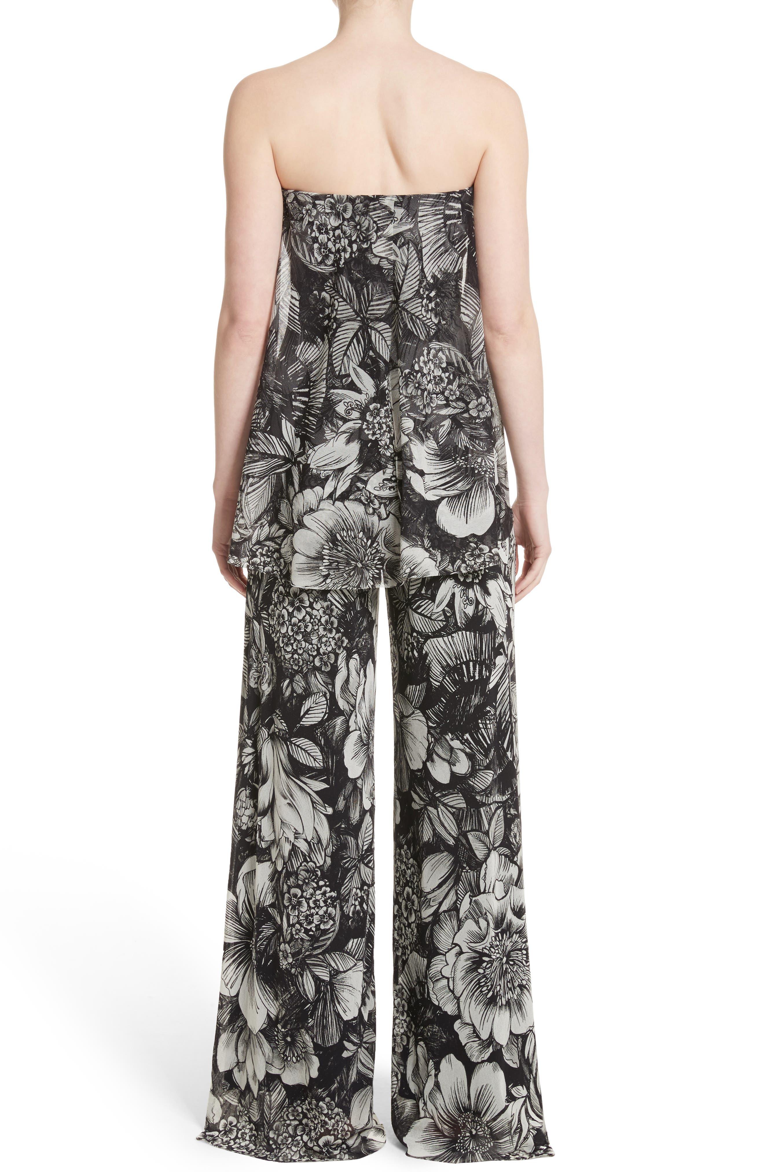 Popover Strapless Floral Print Tulle Jumpsuit,                             Alternate thumbnail 2, color,                             Nero