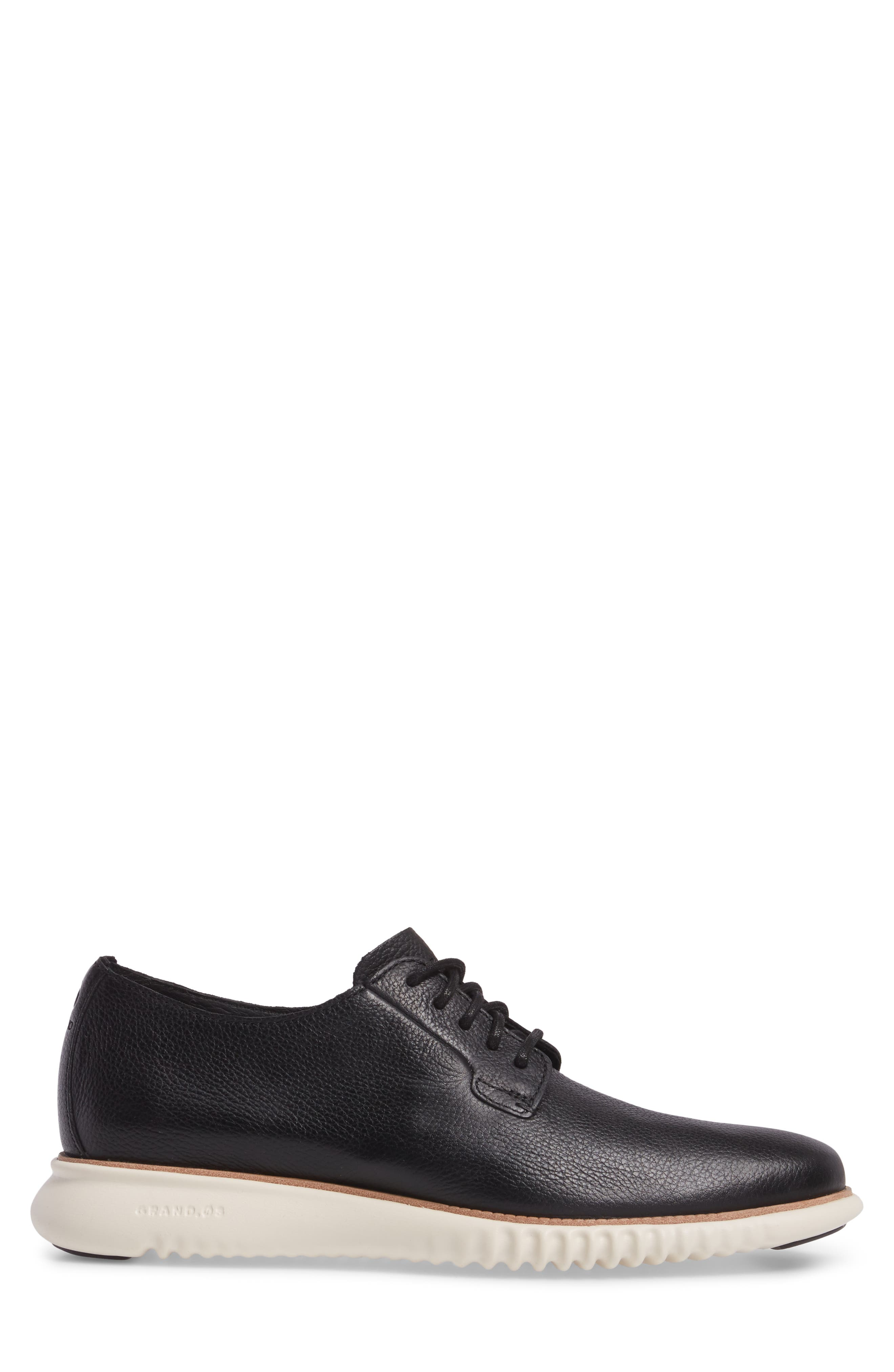 2.ZeroGrand Plain Toe Derby,                             Alternate thumbnail 3, color,                             Black/ Ivory Leather