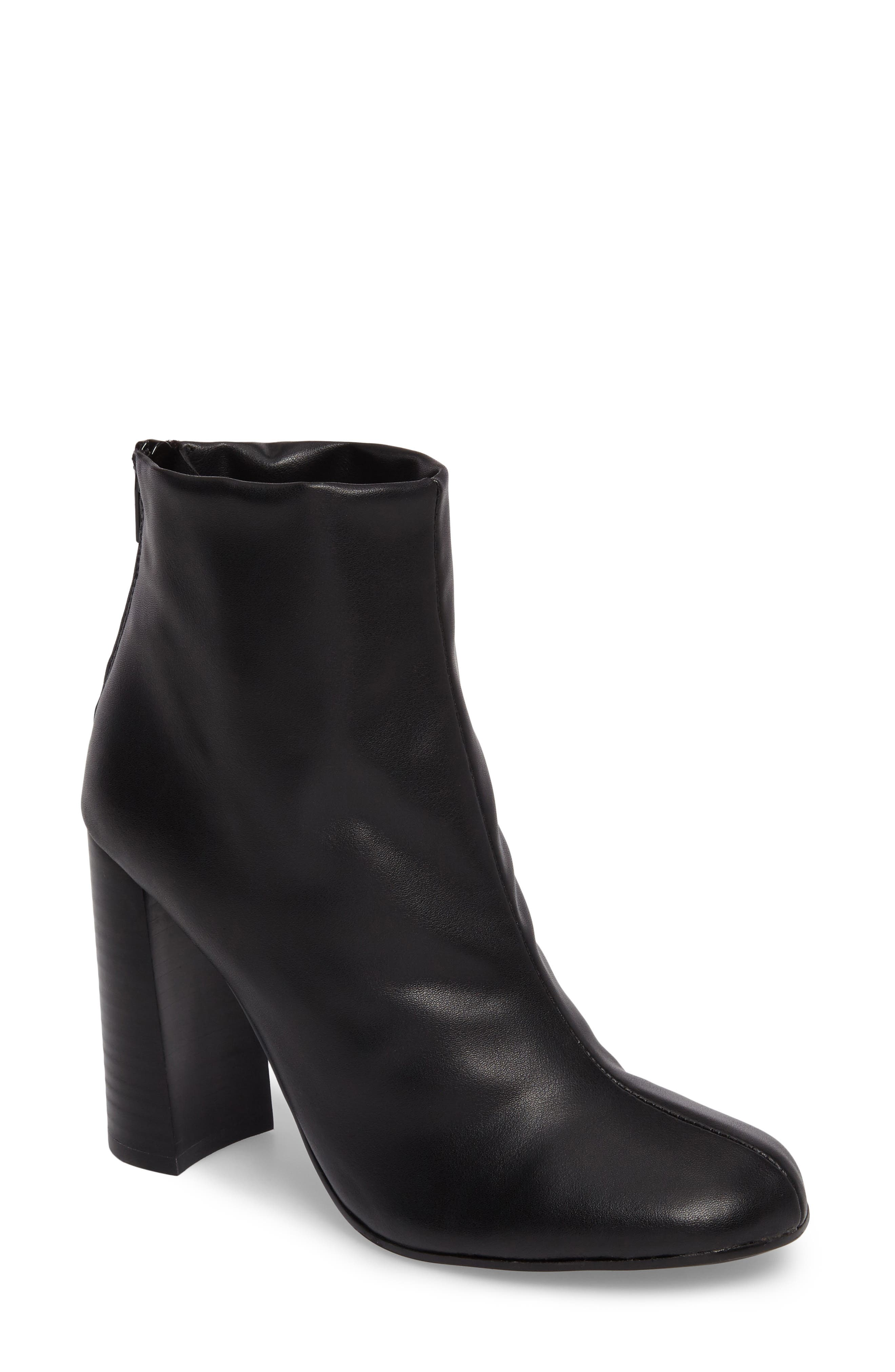Nyx Stretch Bootie,                             Main thumbnail 1, color,                             Black Nappa Leather