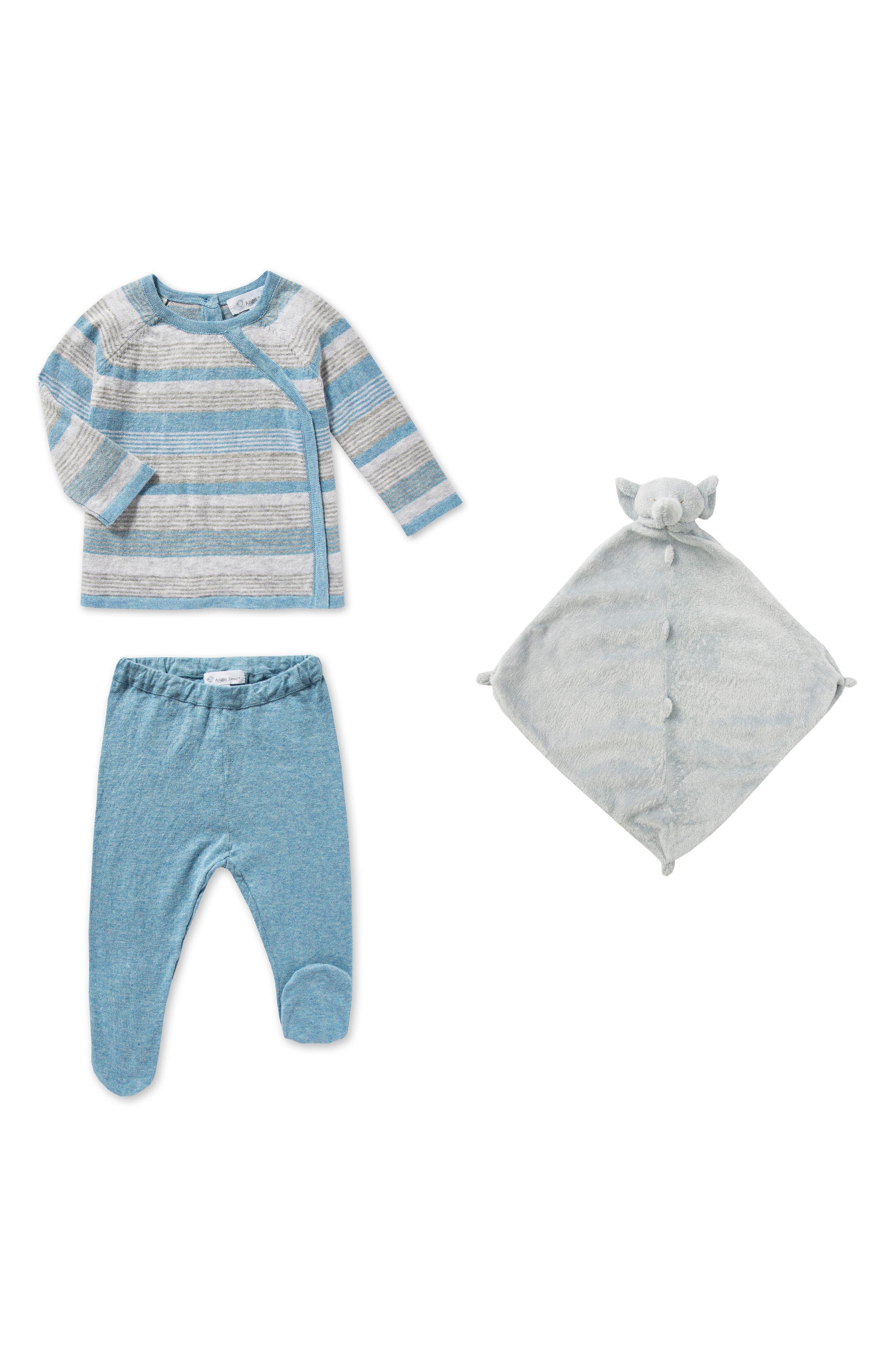 Main Image - Angel Dear Sweater, Pants & Blankie Set (Baby Boys)