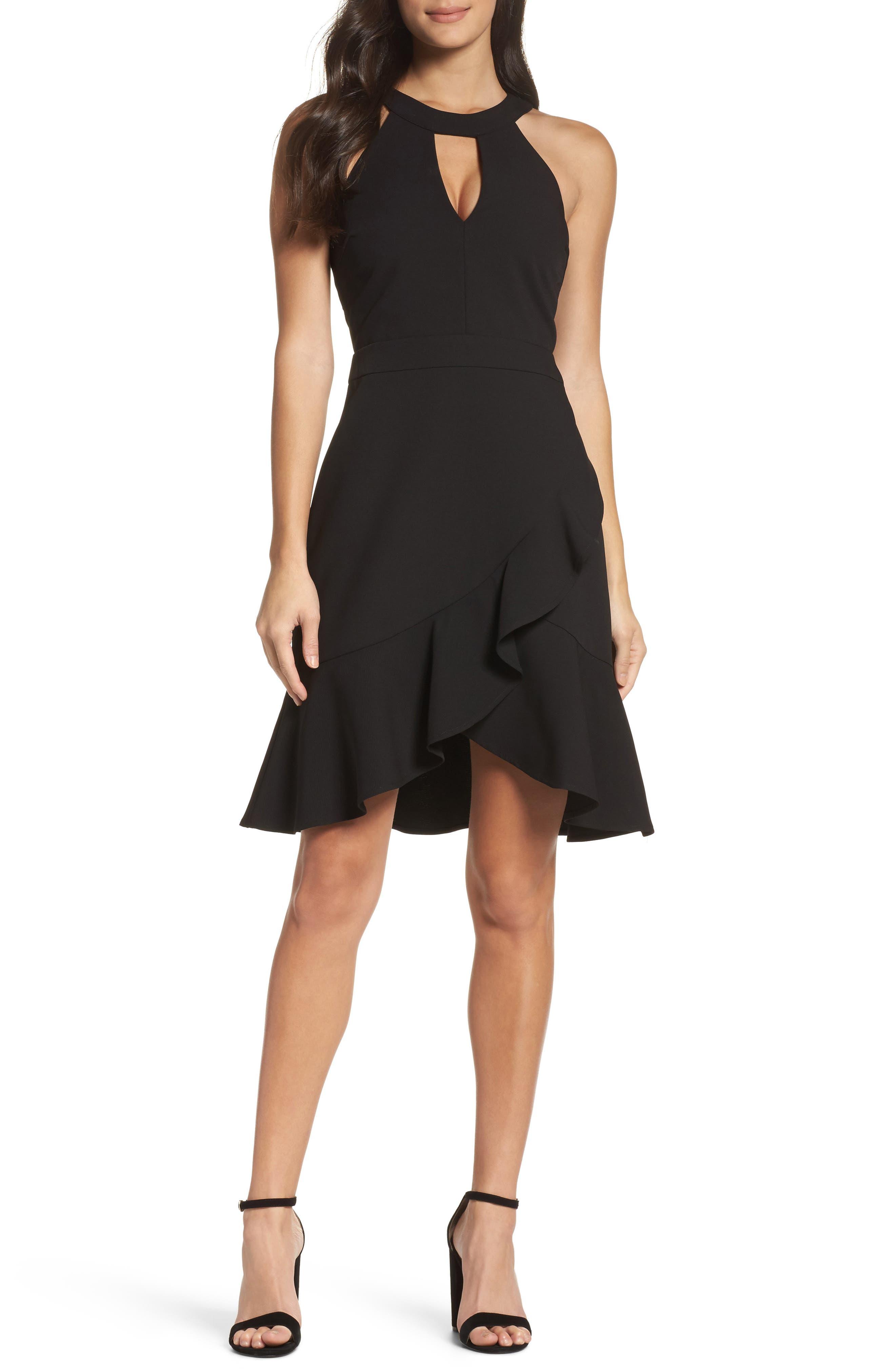 Kasi Ruffle Fit & Flare Dress,                         Main,                         color, Black