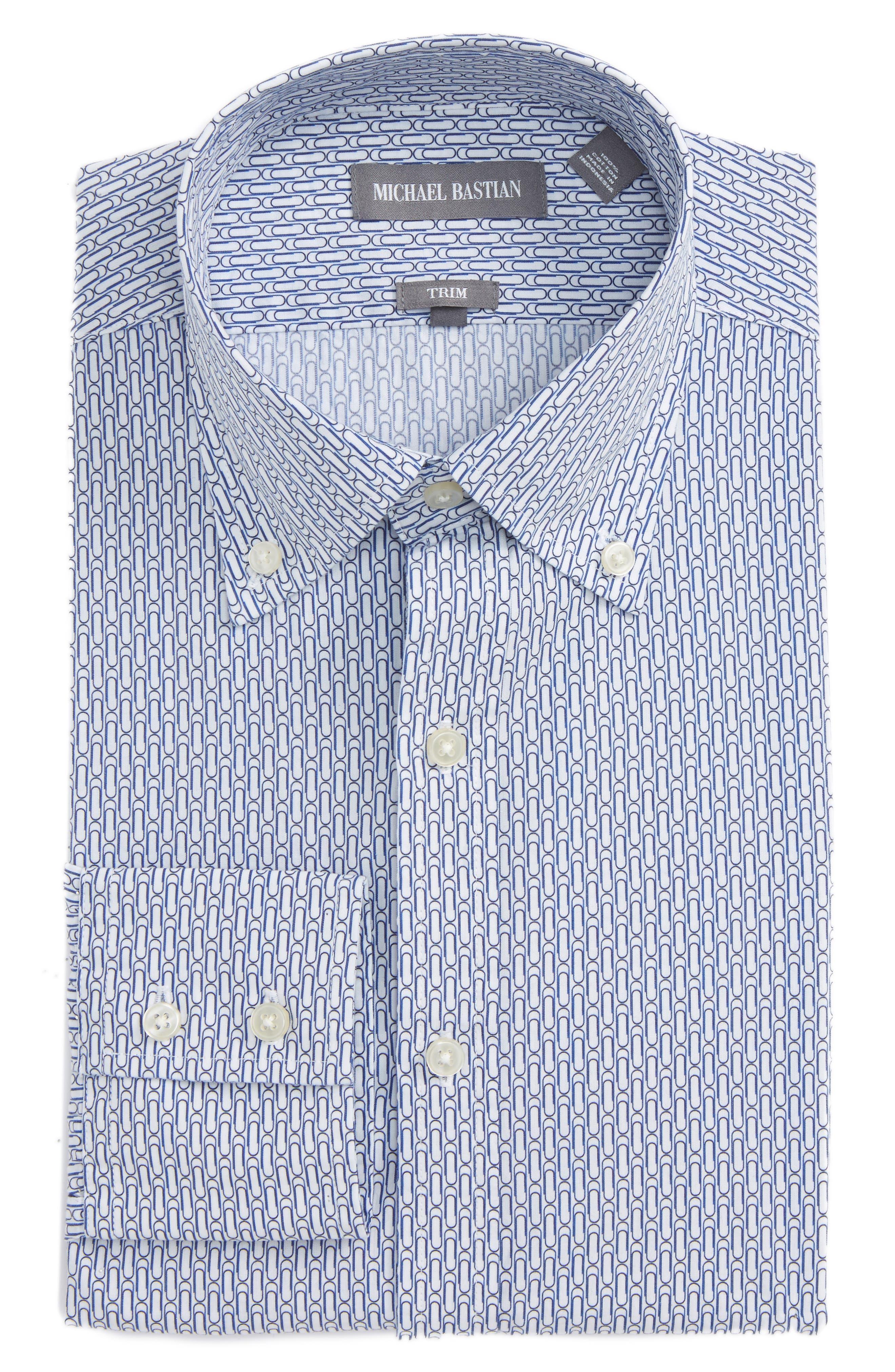 Trim Fit Paper Clip Print Dress Shirt,                             Main thumbnail 1, color,                             Blue/ White