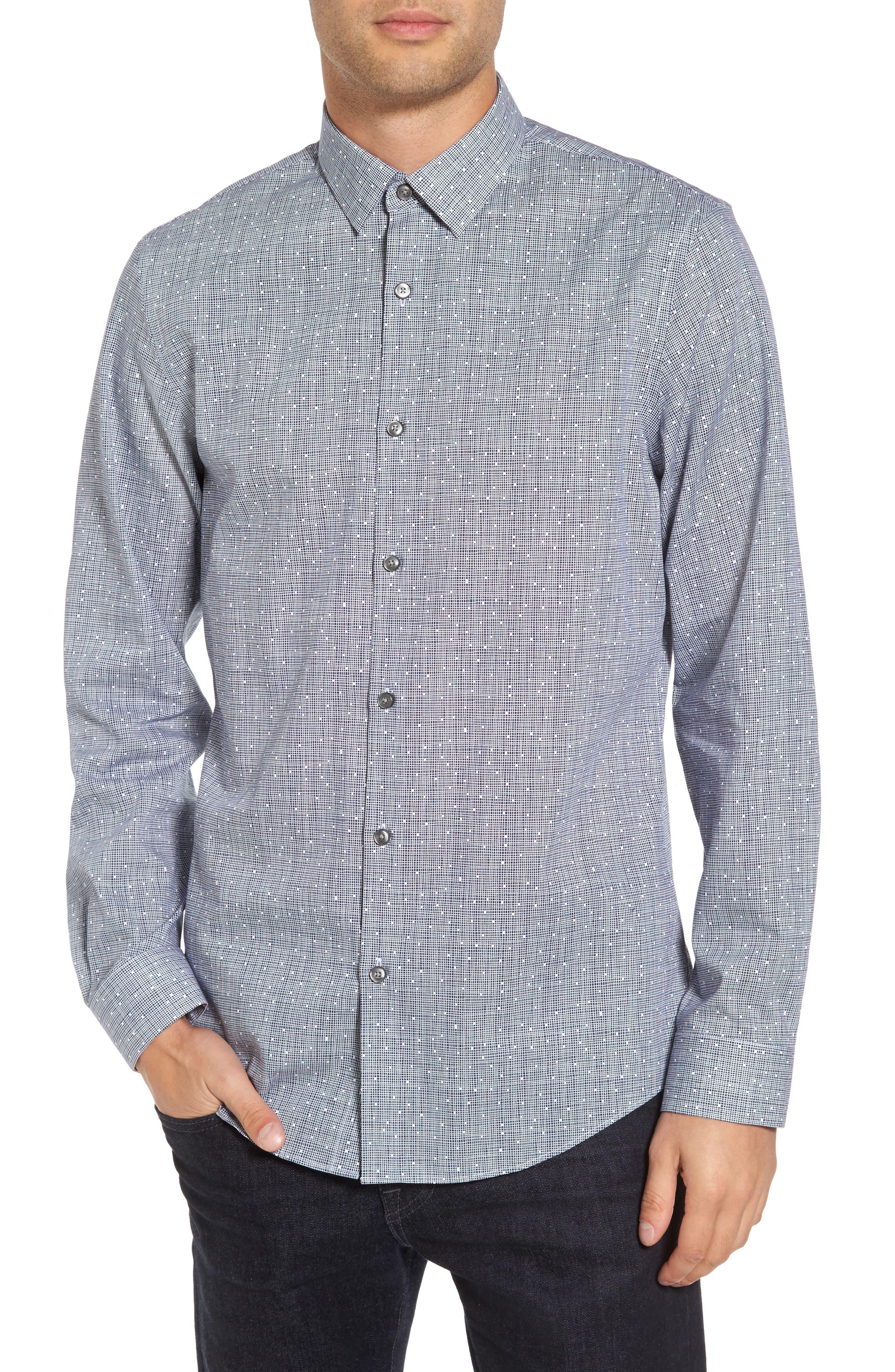 Alternate Image 1 Selected - Calibrate Slim Fit No-Iron Print Sport Shirt