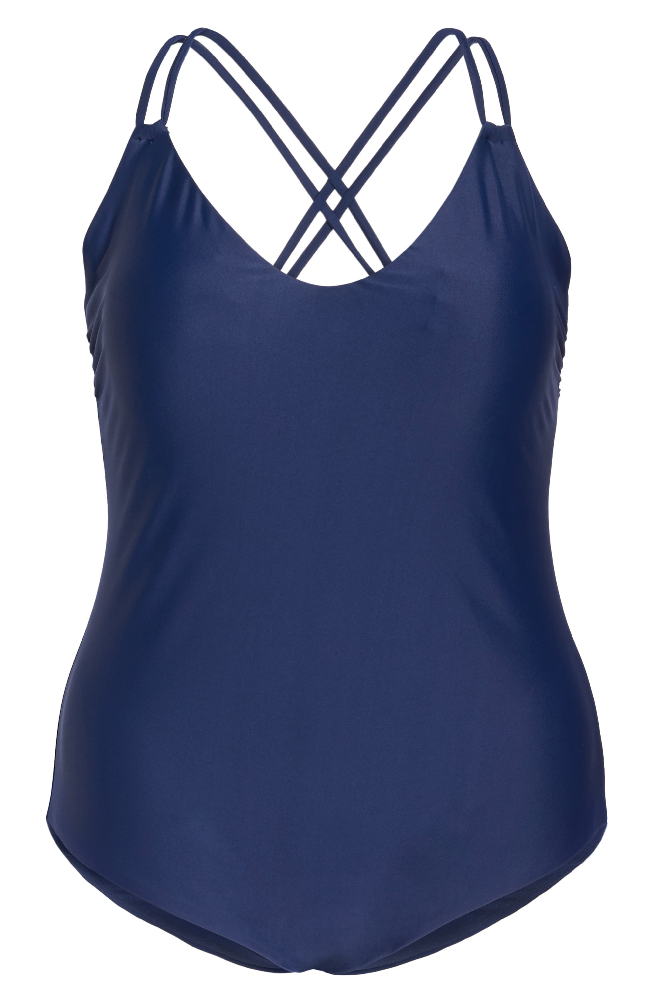 Keep It Simple One-Piece Swimsuit,                             Alternate thumbnail 6, color,                             Navy