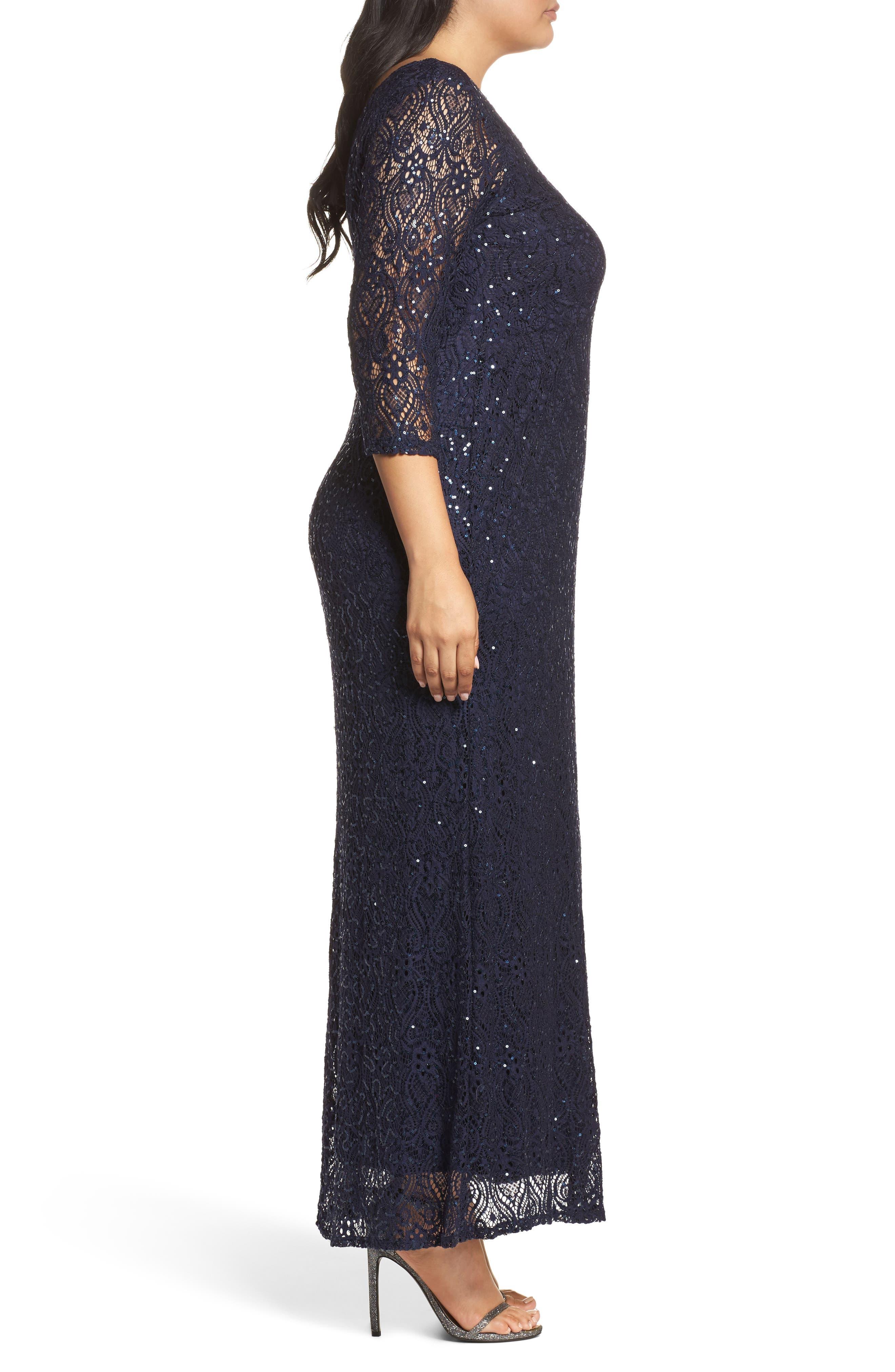 Alternate Image 3  - Marina Sequin Lace A-Line Gown (Plus Size)