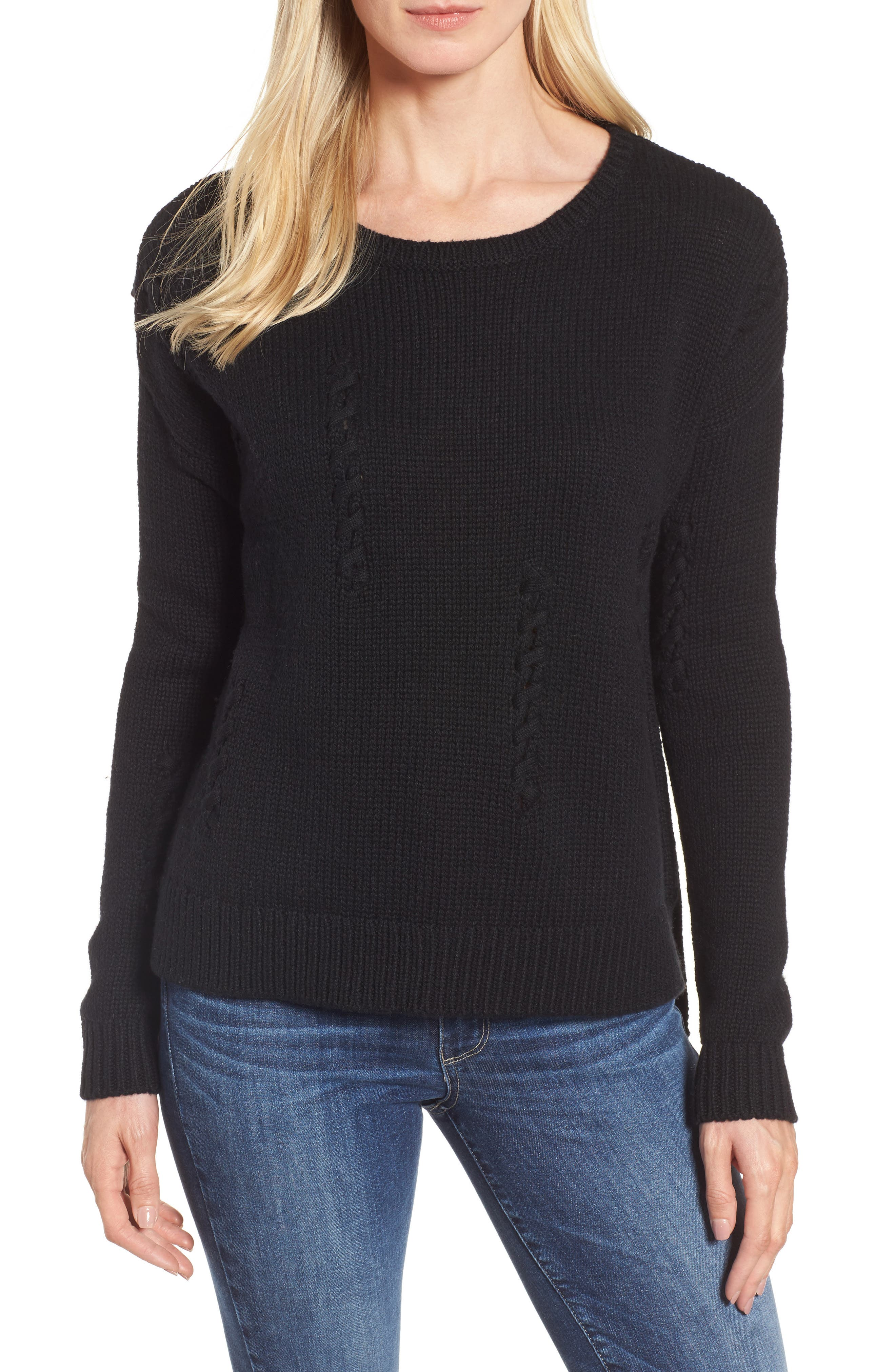 Whipstitch Detail Sweater,                             Main thumbnail 1, color,                             Black