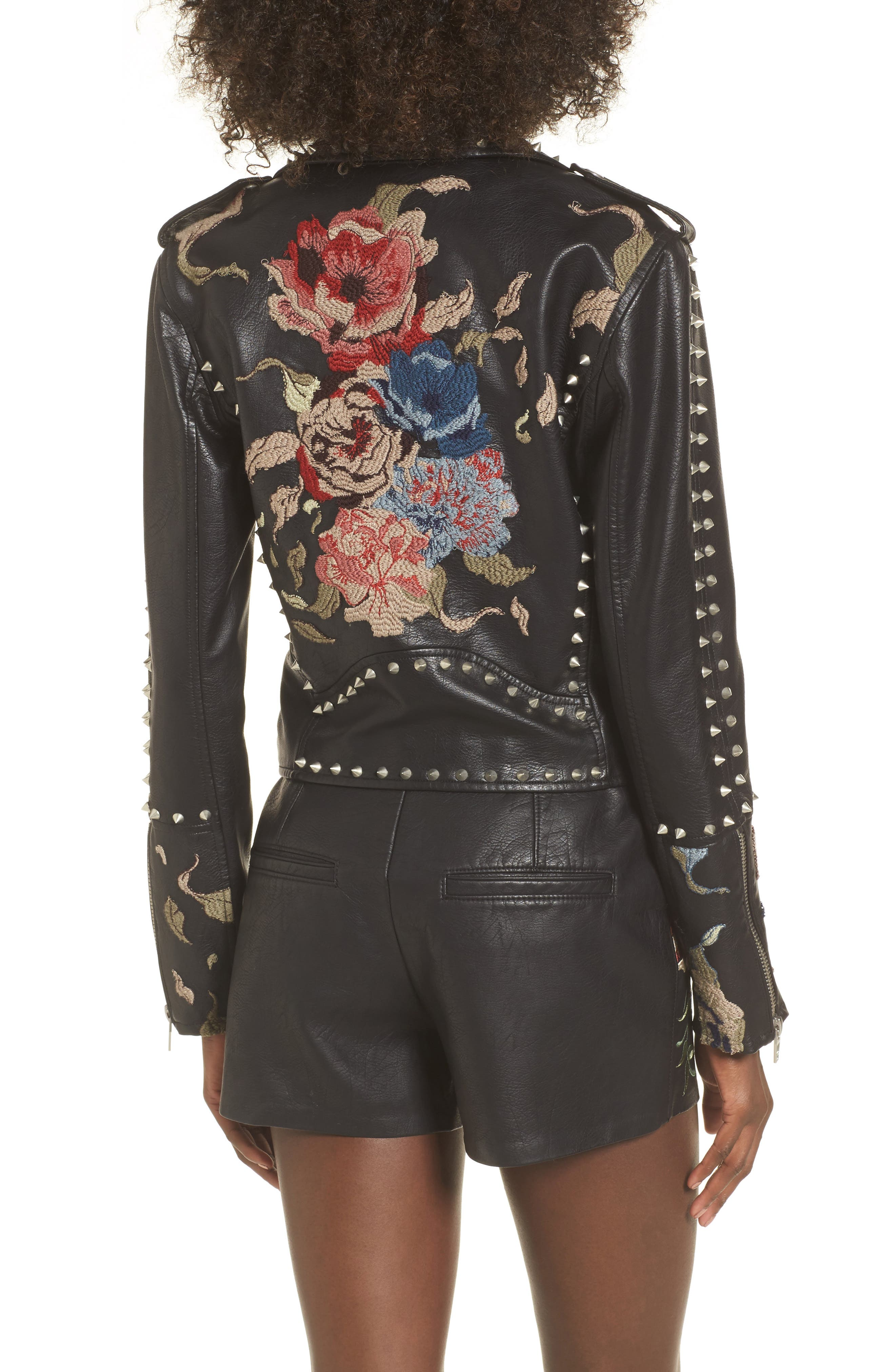 Embroidered Studded Moto Jacket,                             Alternate thumbnail 3, color,                             Budding Romance