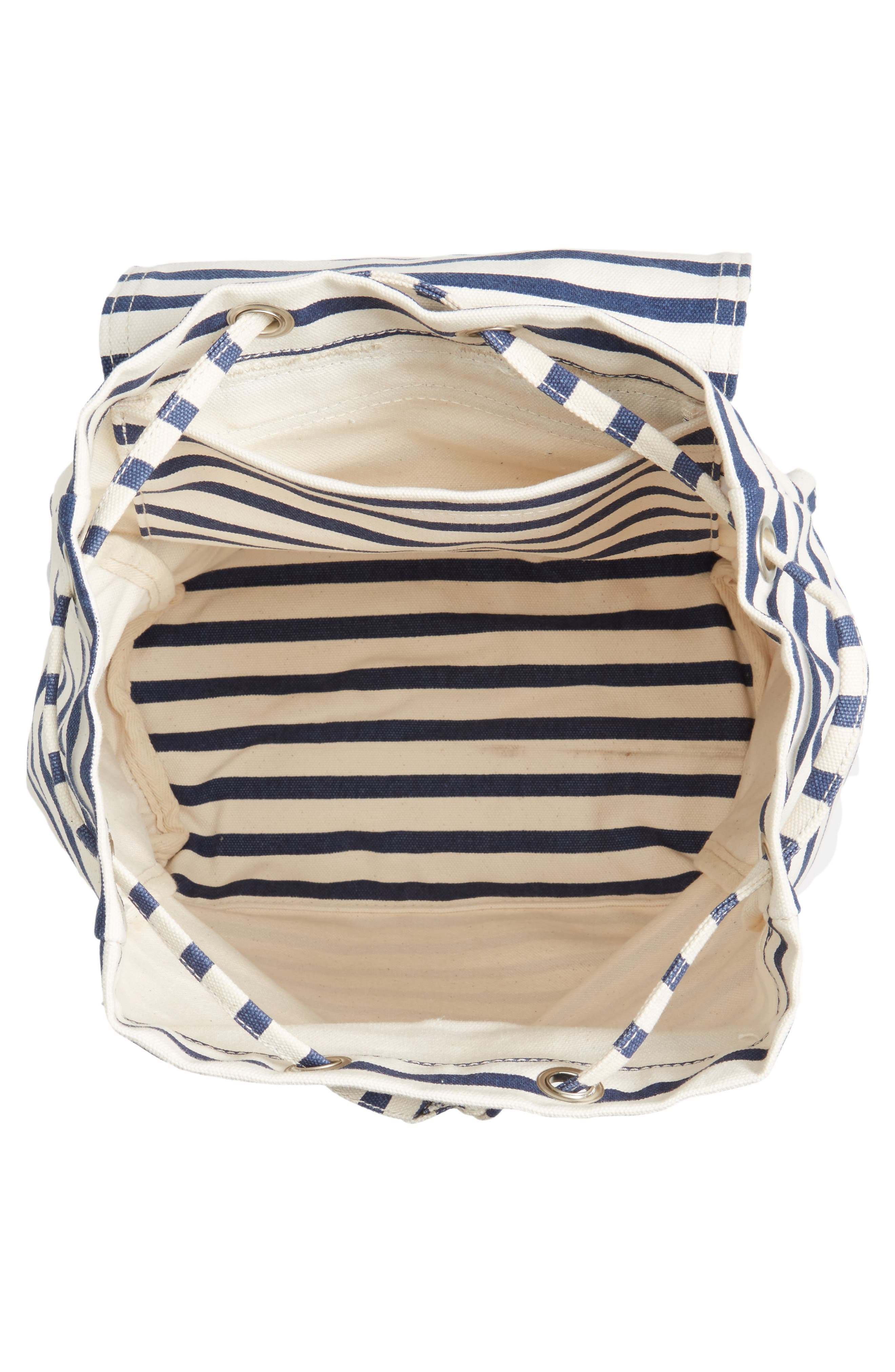 Drawstring Canvas Backpack,                             Alternate thumbnail 3, color,                             Sailor Stripe