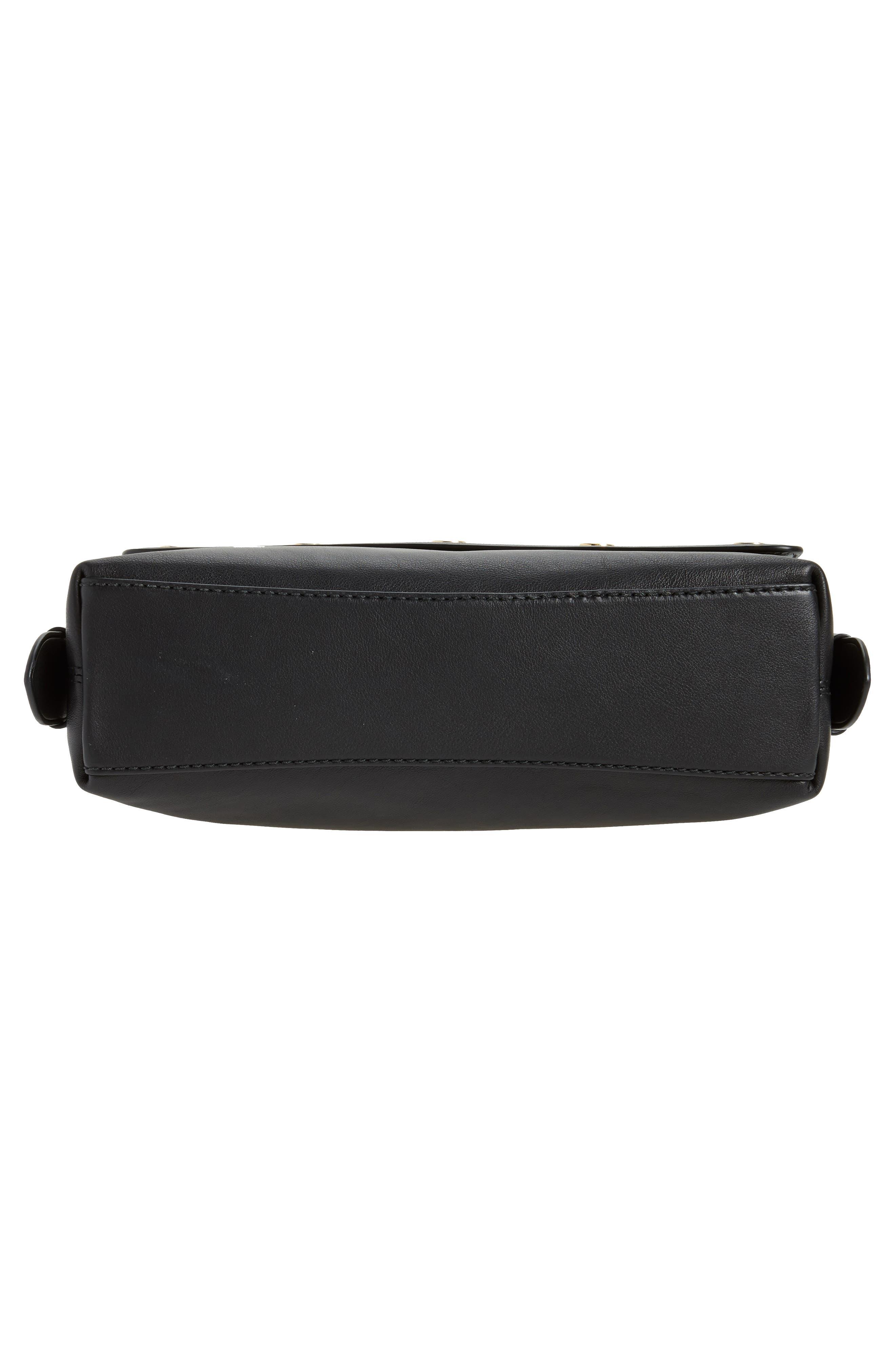 Downtown Stud Leather Shoulder Bag,                             Alternate thumbnail 5, color,                             Black