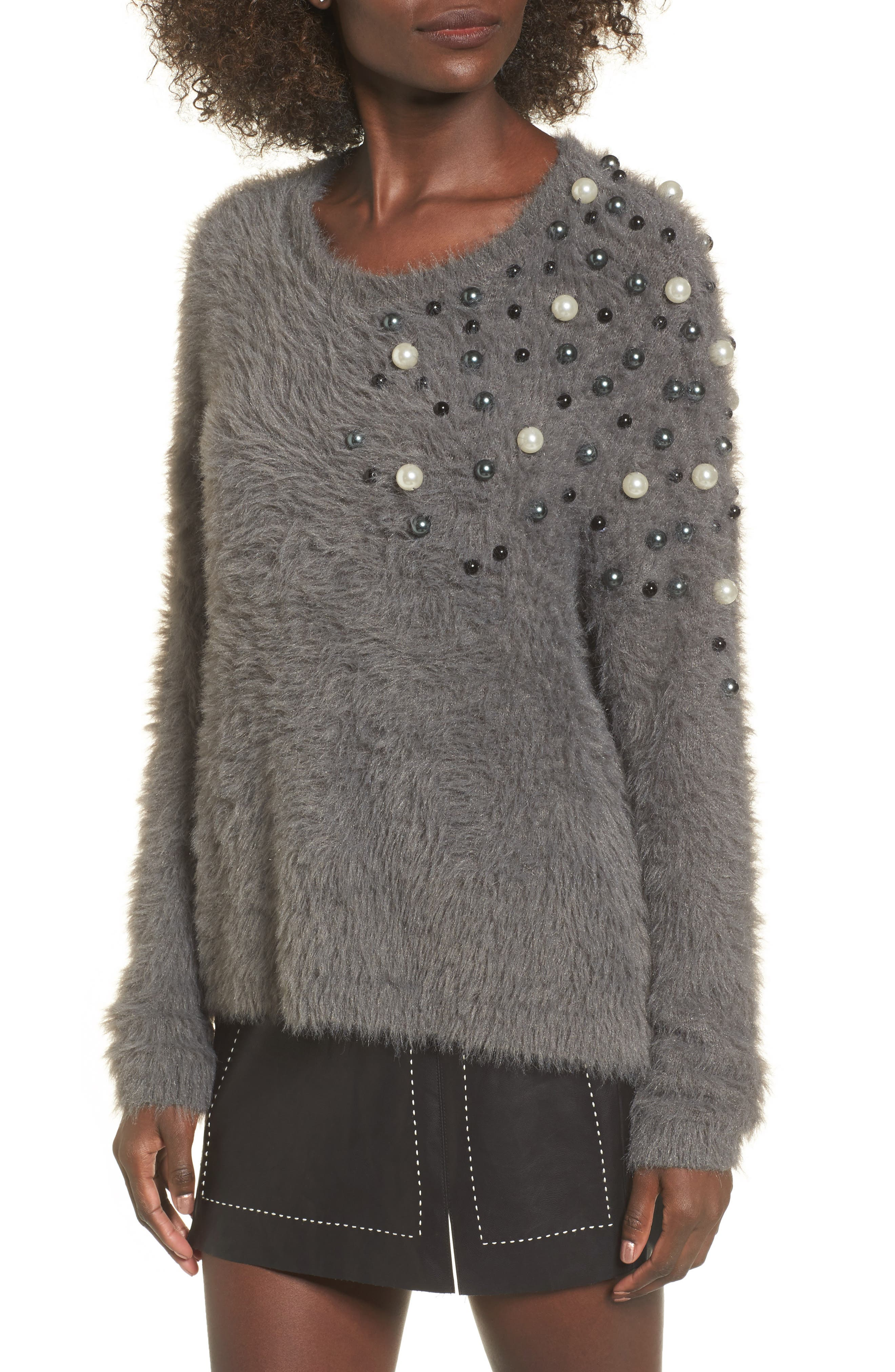 Embellished Faux Fur Sweater,                         Main,                         color, Grey Pearl