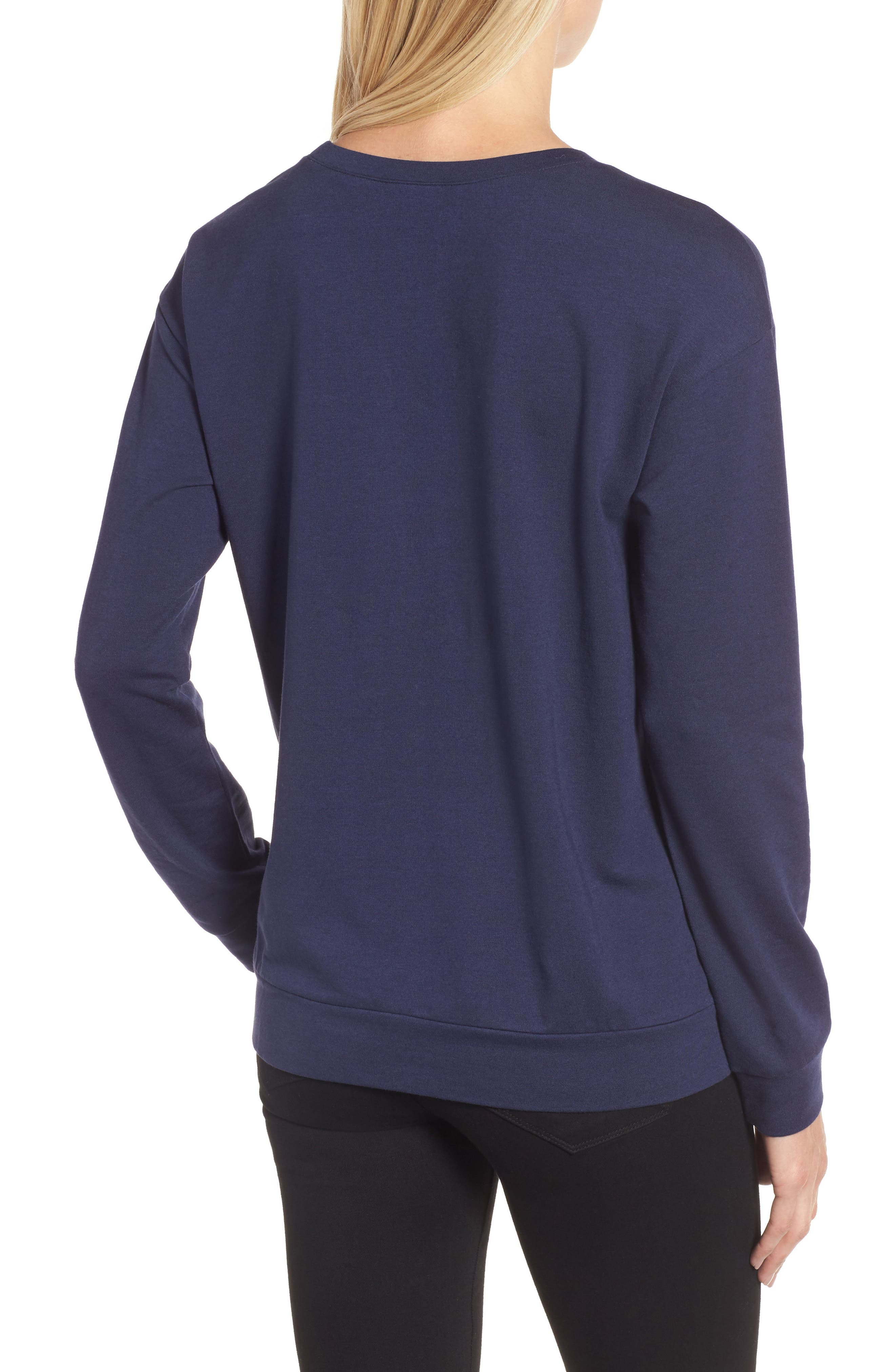Bow Detail Sweatshirt,                             Alternate thumbnail 3, color,                             Navy Peacoat