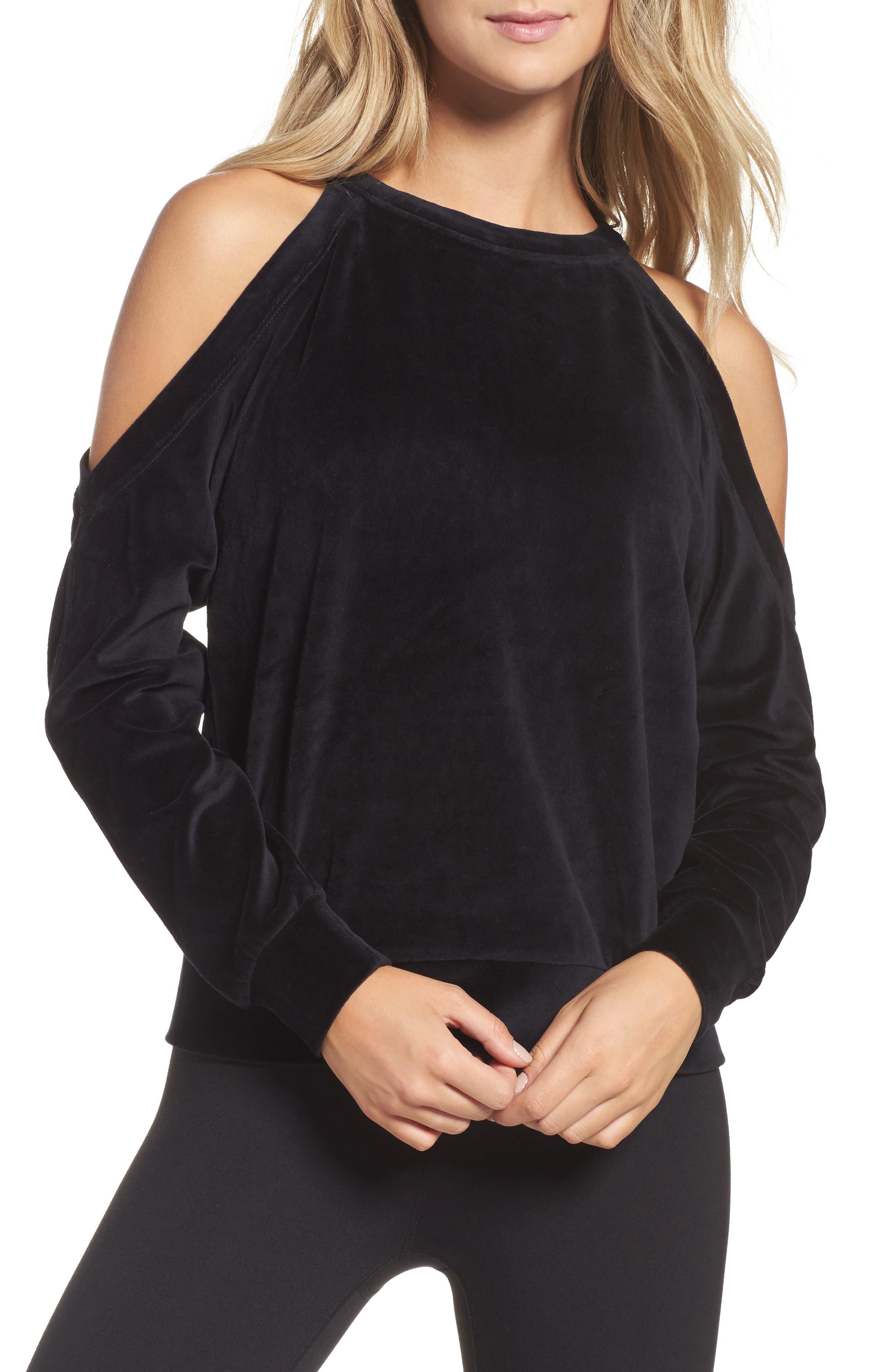 Cara Velour Cold Shoulder Top,                         Main,                         color, Black