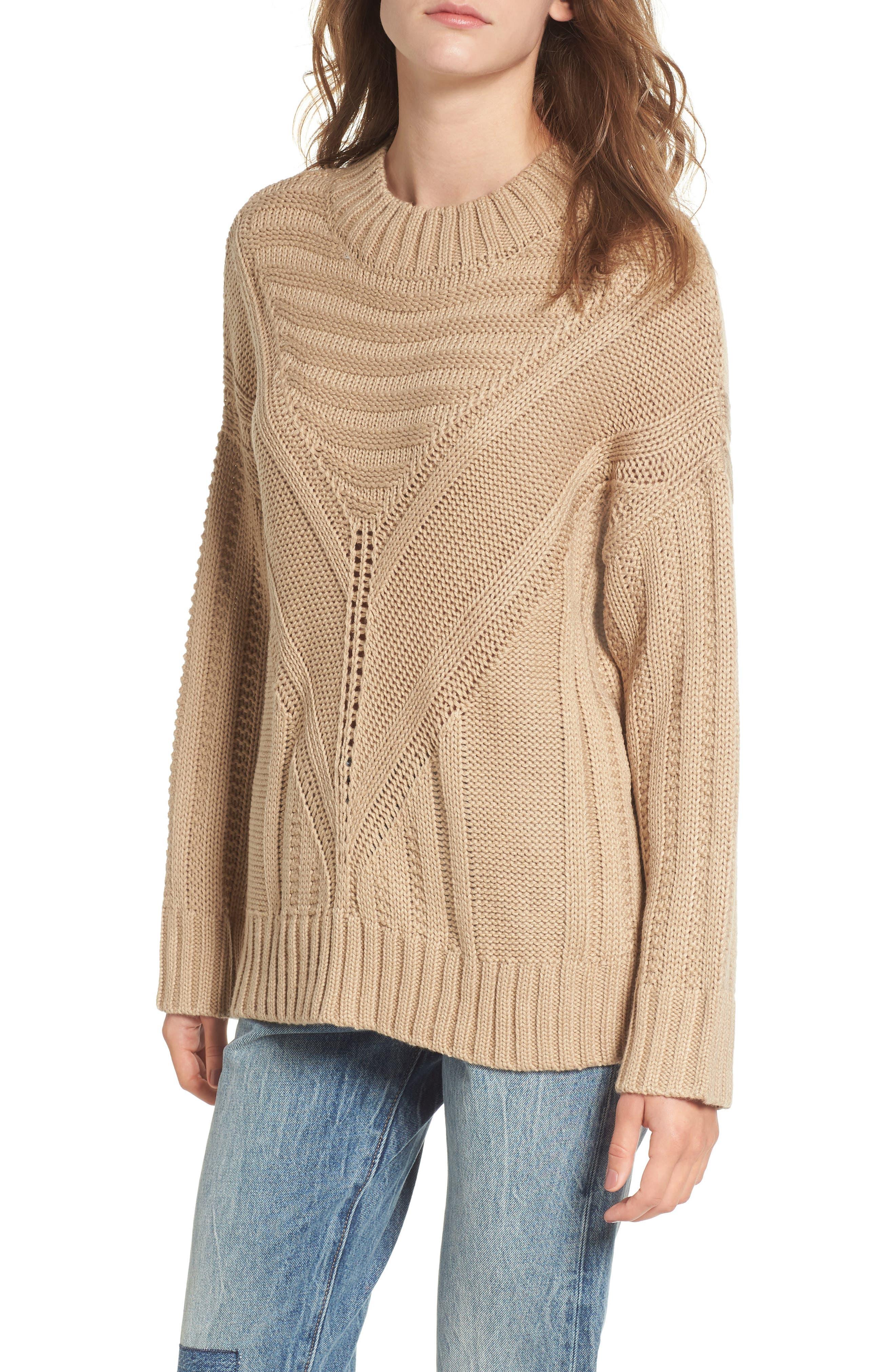 Oversize Drop Shoulder Sweater,                         Main,                         color, Taupe