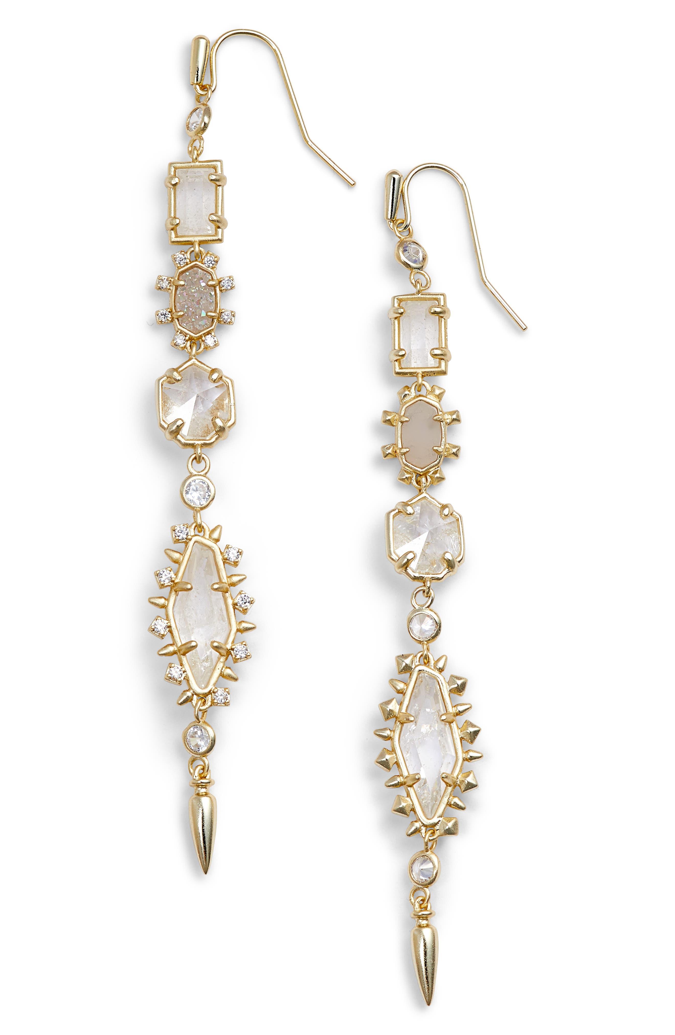 Leandra Linear Earrings,                             Main thumbnail 1, color,                             Rock Crystal Mix/ Gold