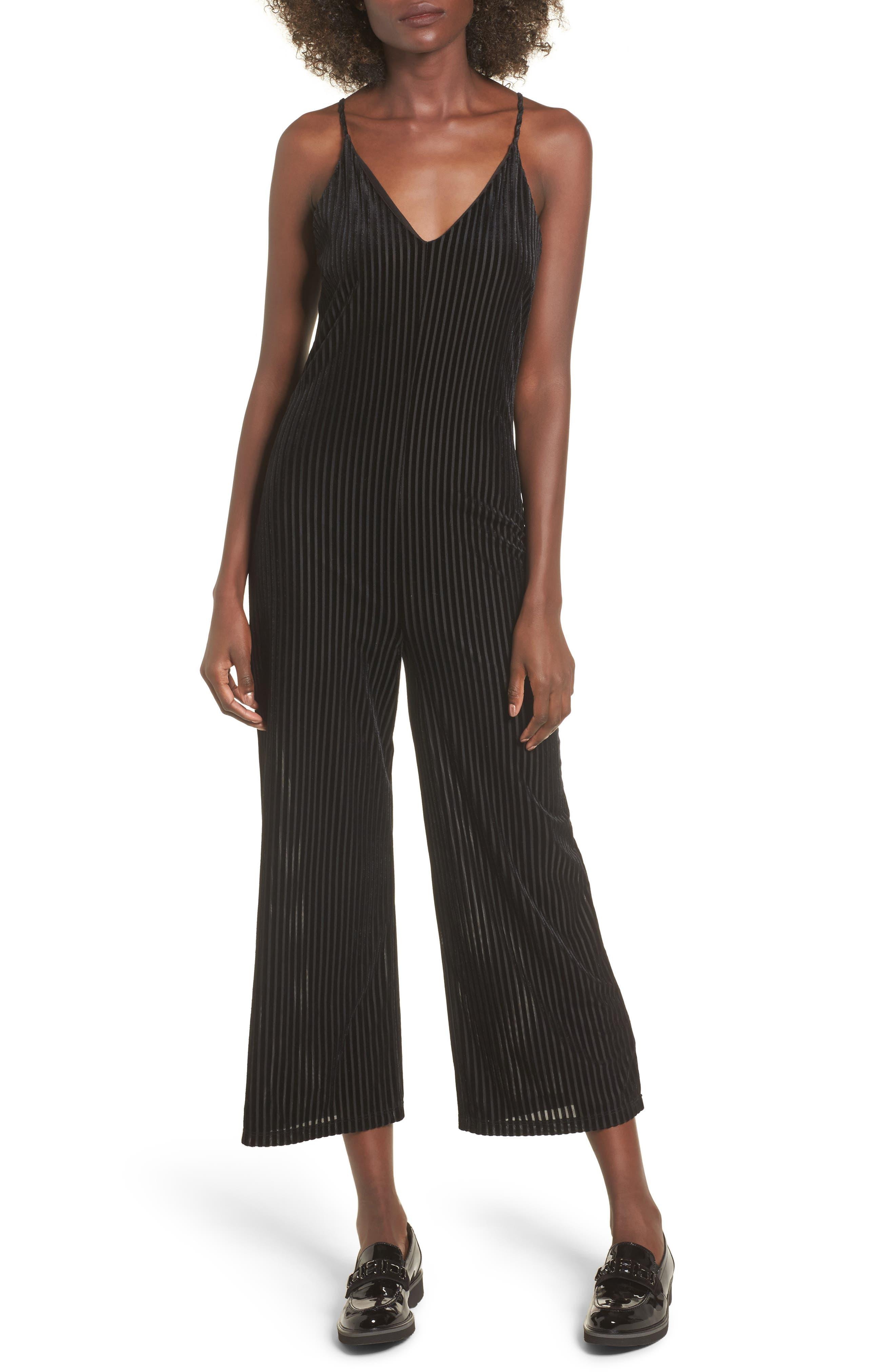 Carmen Velvet Burnout Jumpsuit,                             Main thumbnail 1, color,                             Black
