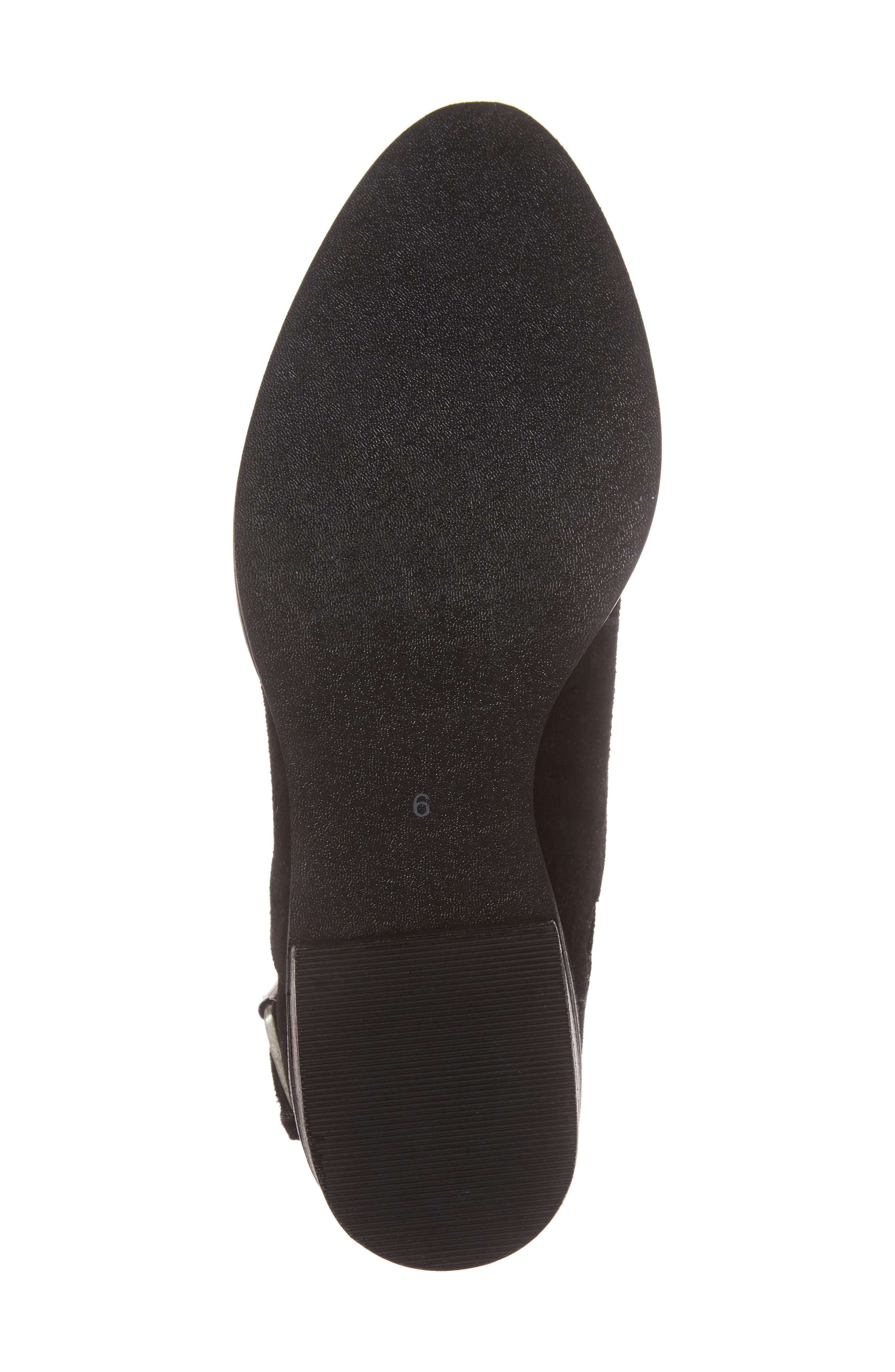 Zoey Perforated Bootie,                             Alternate thumbnail 6, color,                             Black Suede