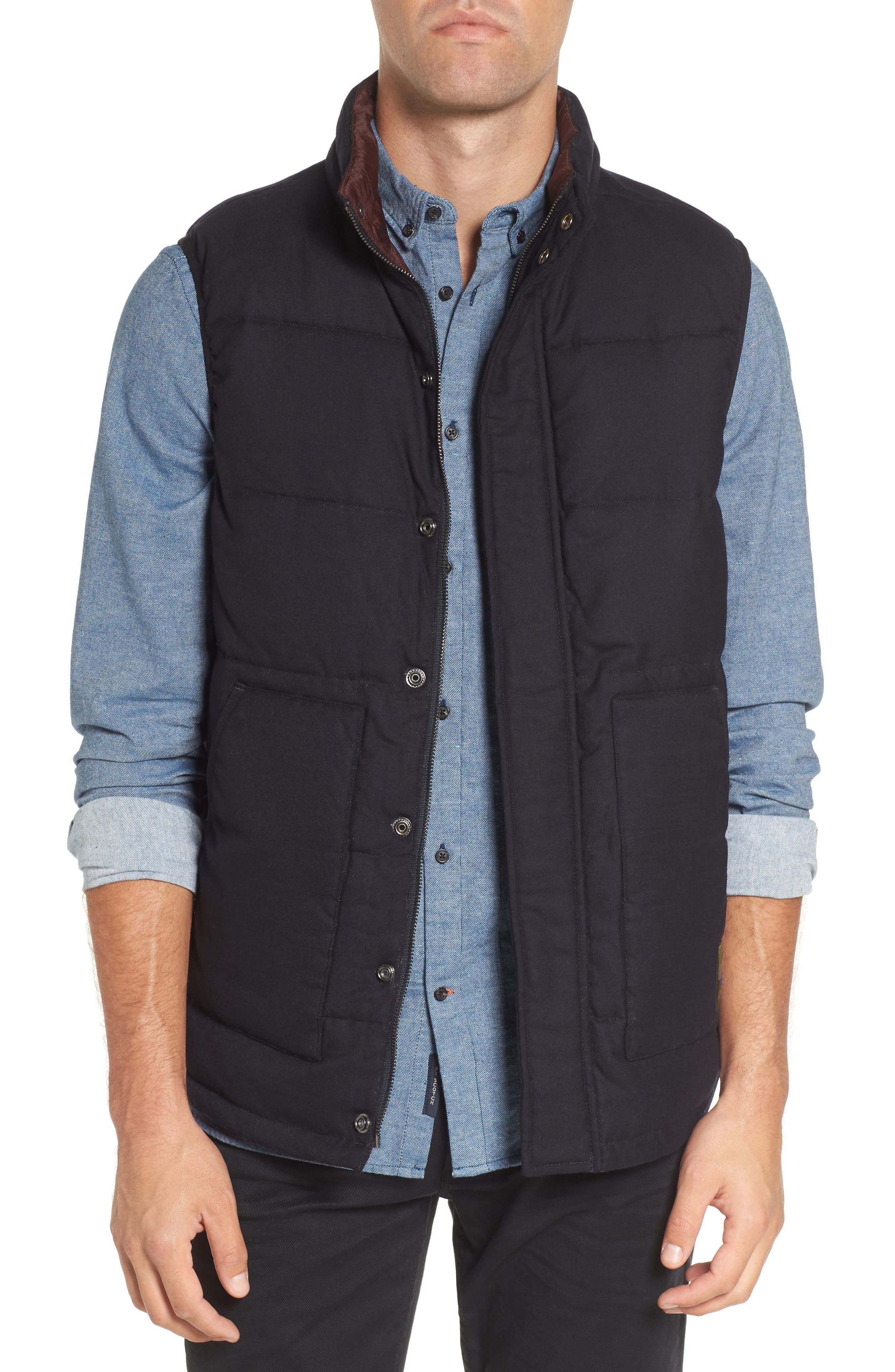 Quilted Vest,                         Main,                         color, Blue