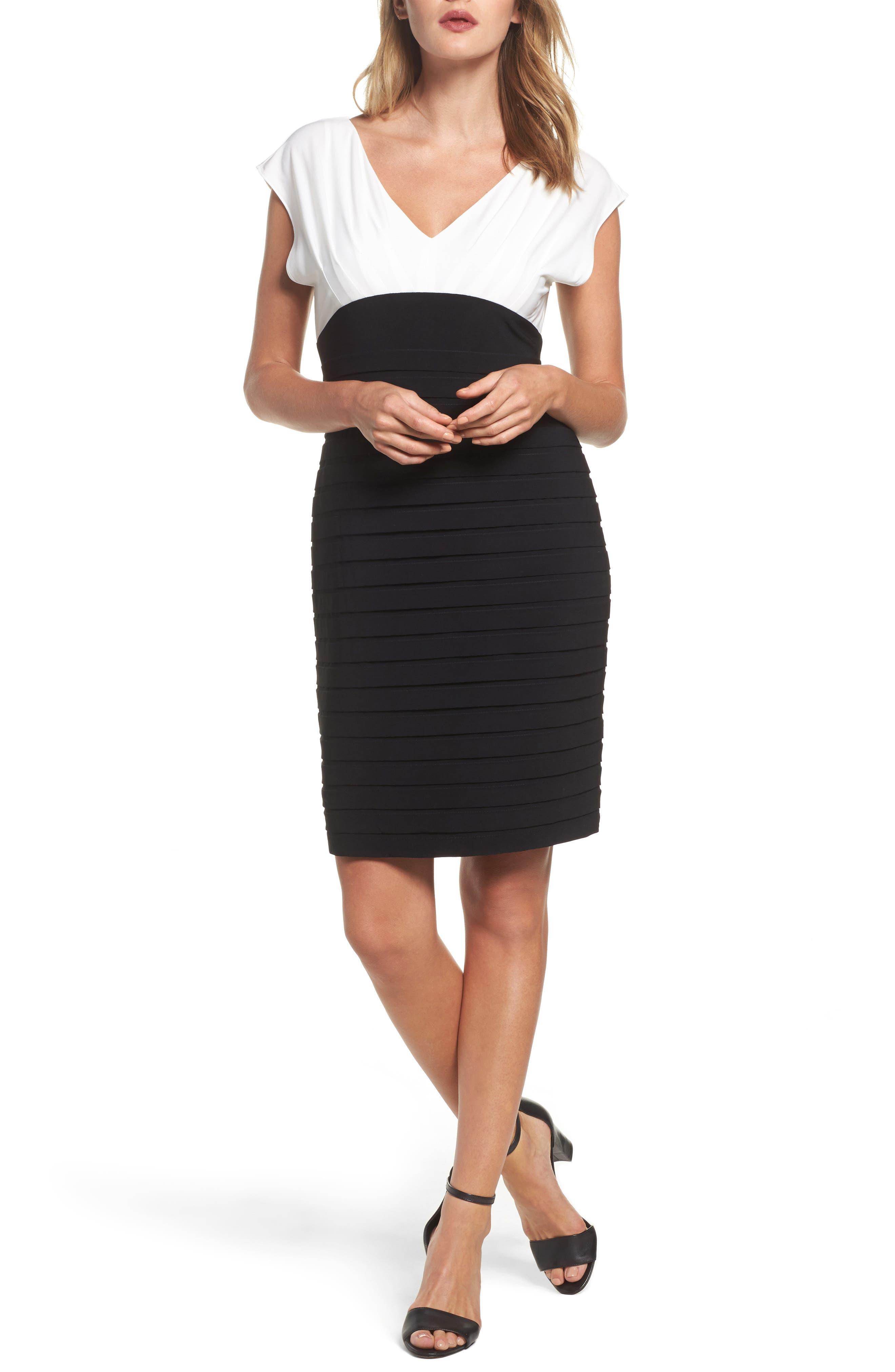Shutter Pleated Sheath Dress,                         Main,                         color, Ivory/ Black