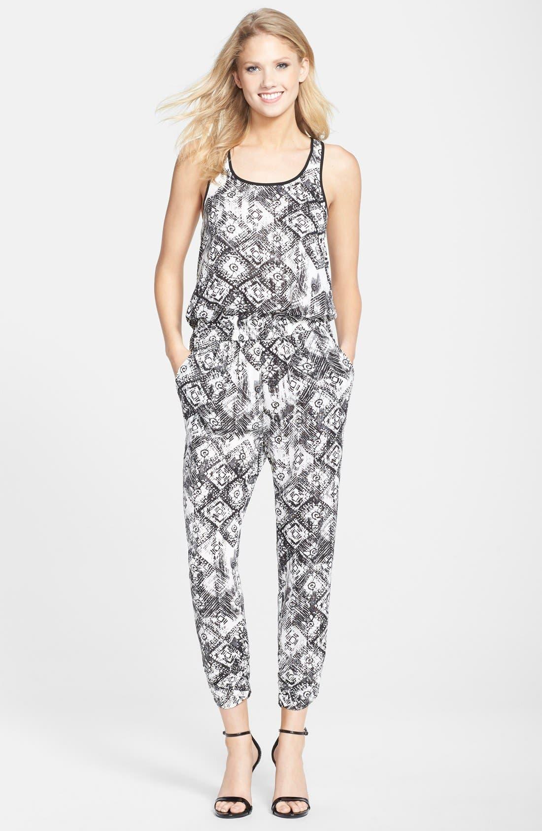 Print Crepe Jumpsuit,                         Main,                         color, Black/ White