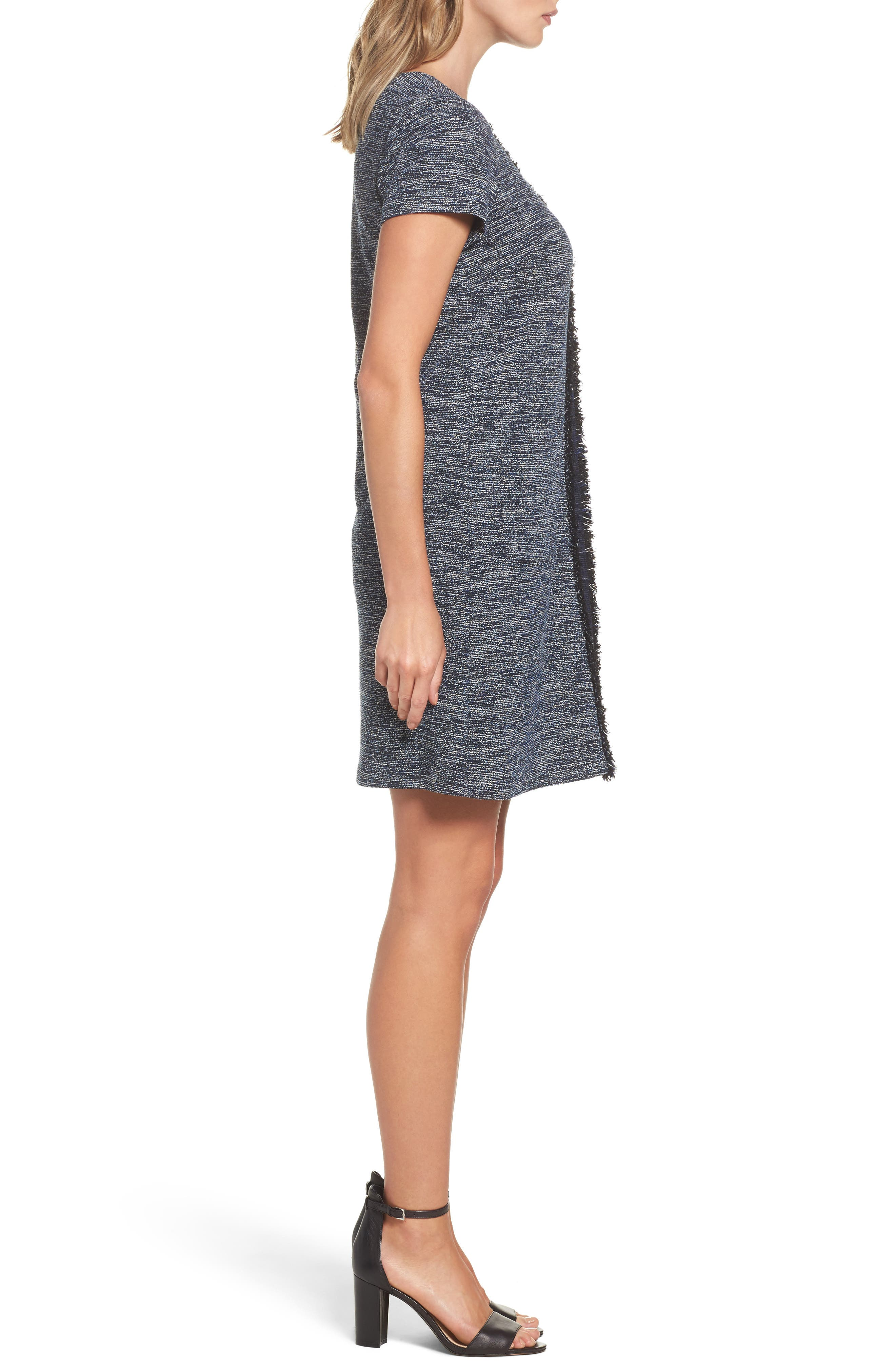 Knit Tweed Shift Dress,                             Alternate thumbnail 3, color,                             Navy Multi