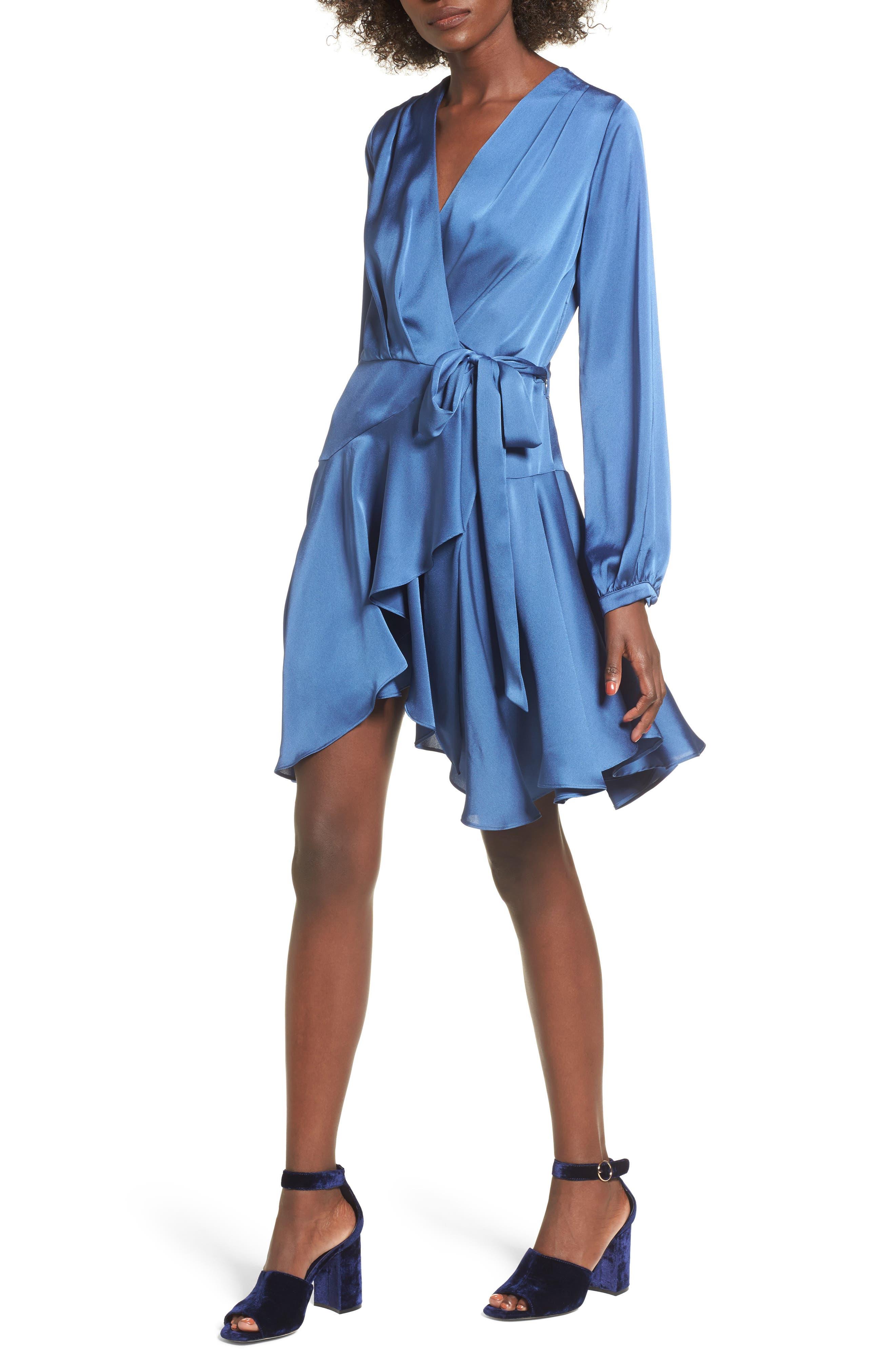 Elsa Satin Ruffle Wrap Minidress,                             Alternate thumbnail 5, color,                             Blue