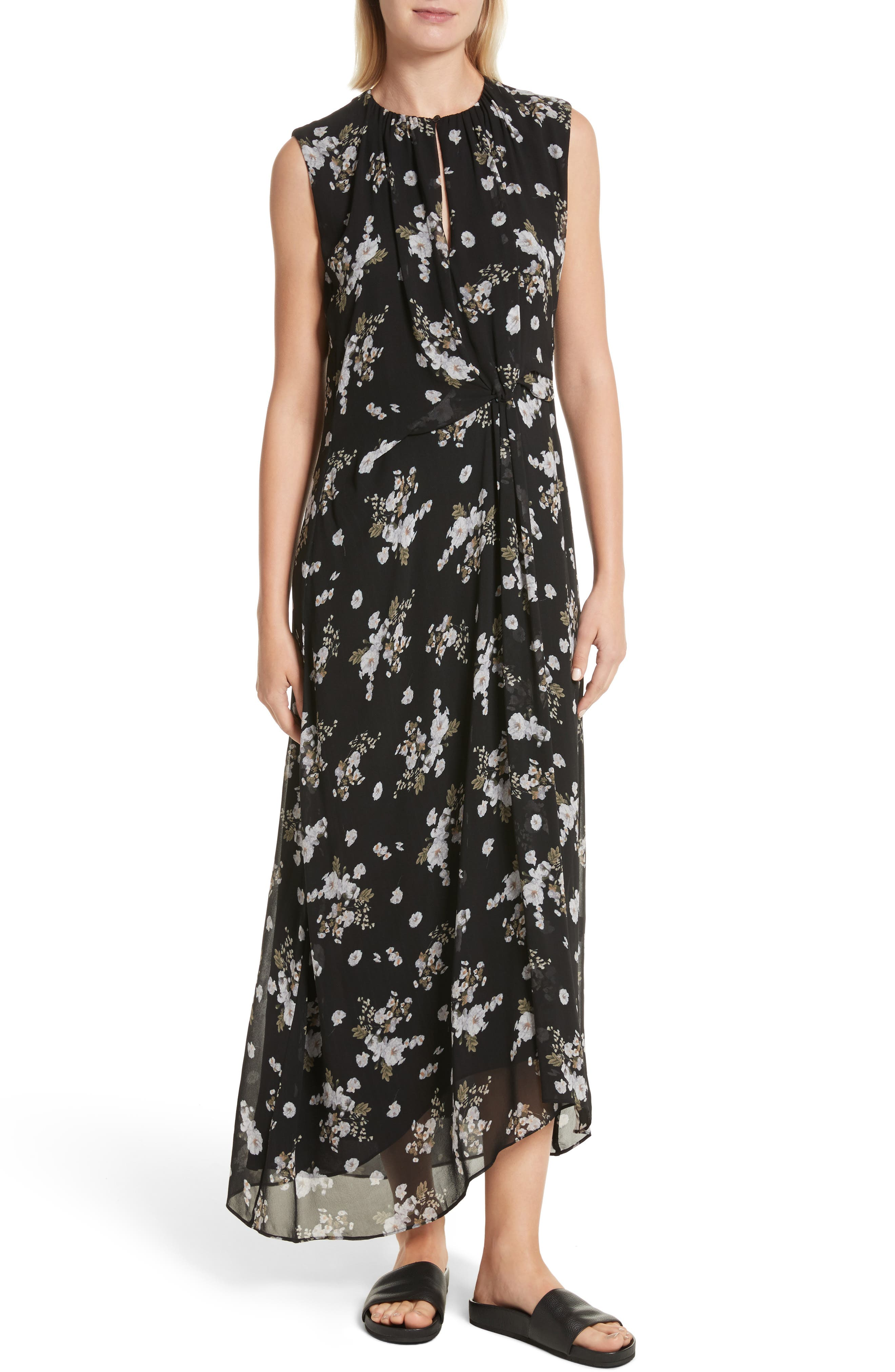Tossed Floral Side Drape Silk Maxi Dress,                         Main,                         color, Black