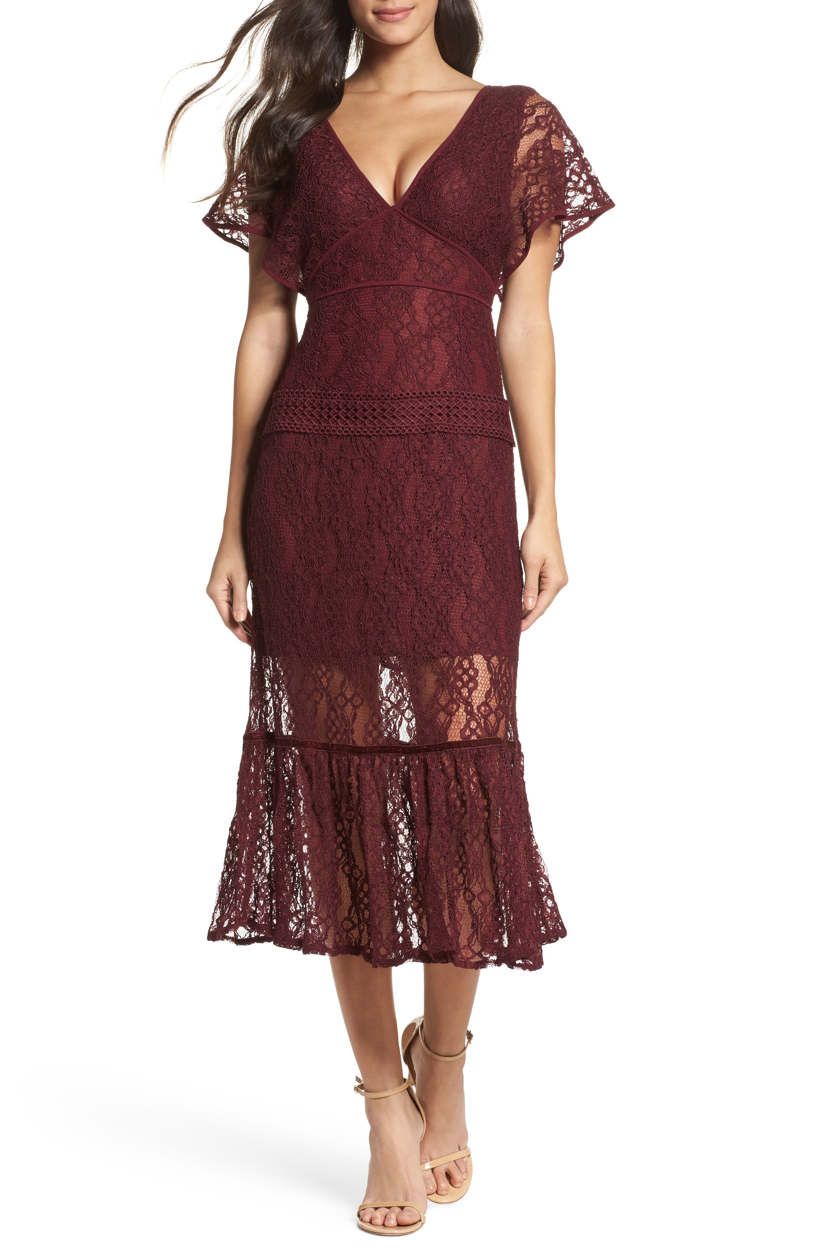 Cecila Lace Midi Dress,                             Main thumbnail 1, color,                             Burgundy
