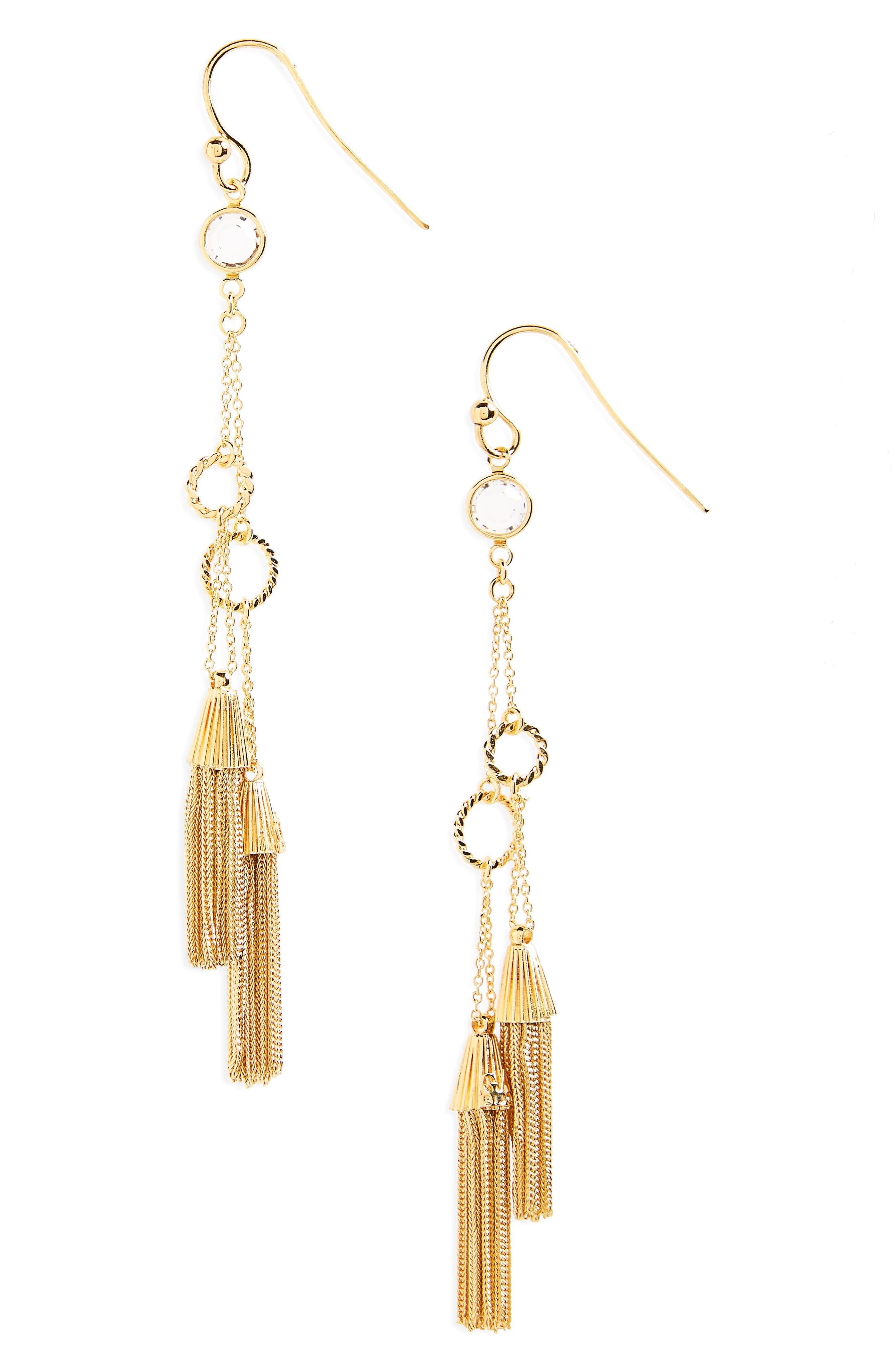 Tresse Tassels Shoulder Duster Earrings,                         Main,                         color, Gold
