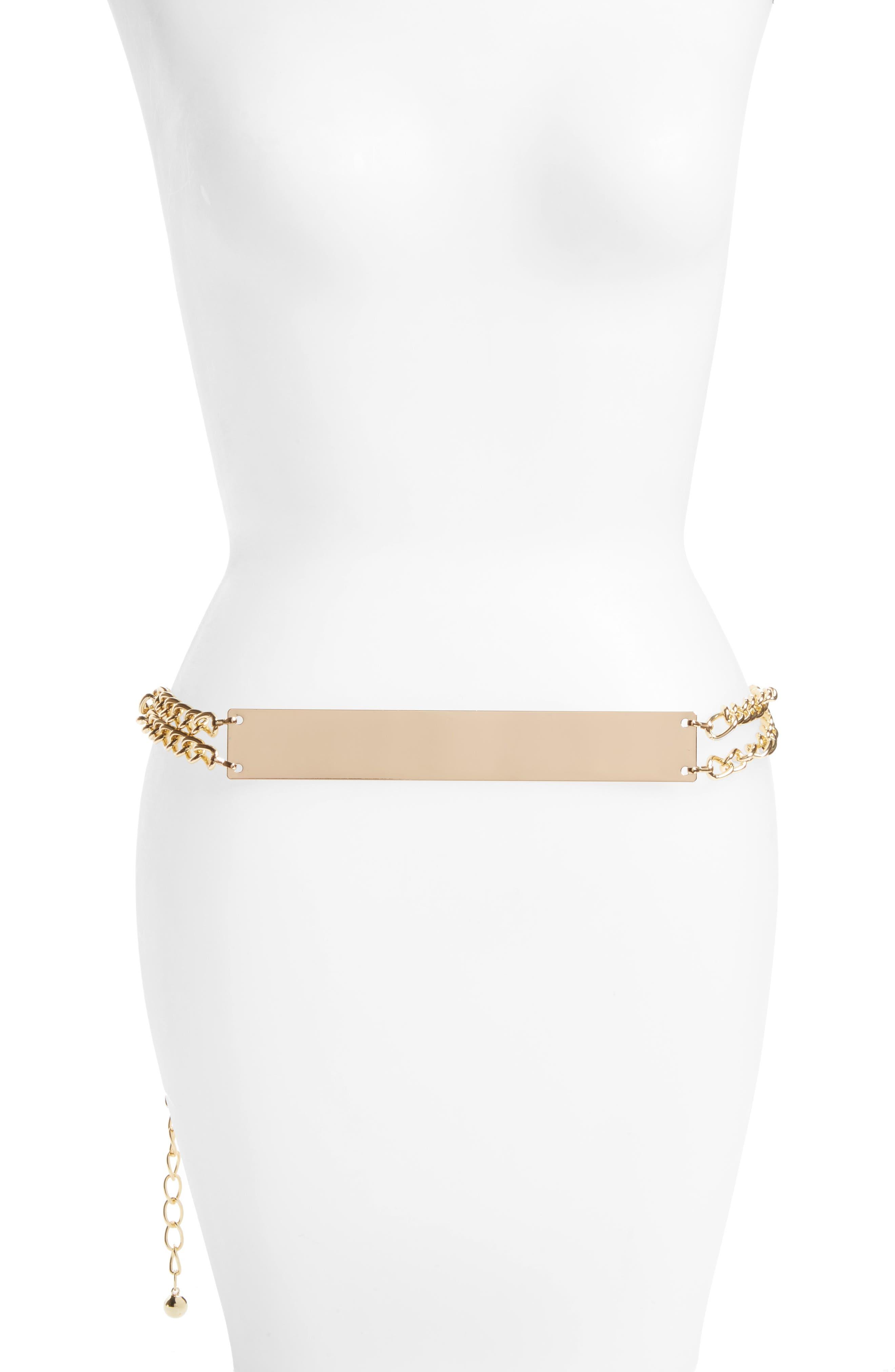 Bar Chain Belt,                             Main thumbnail 1, color,                             Gold