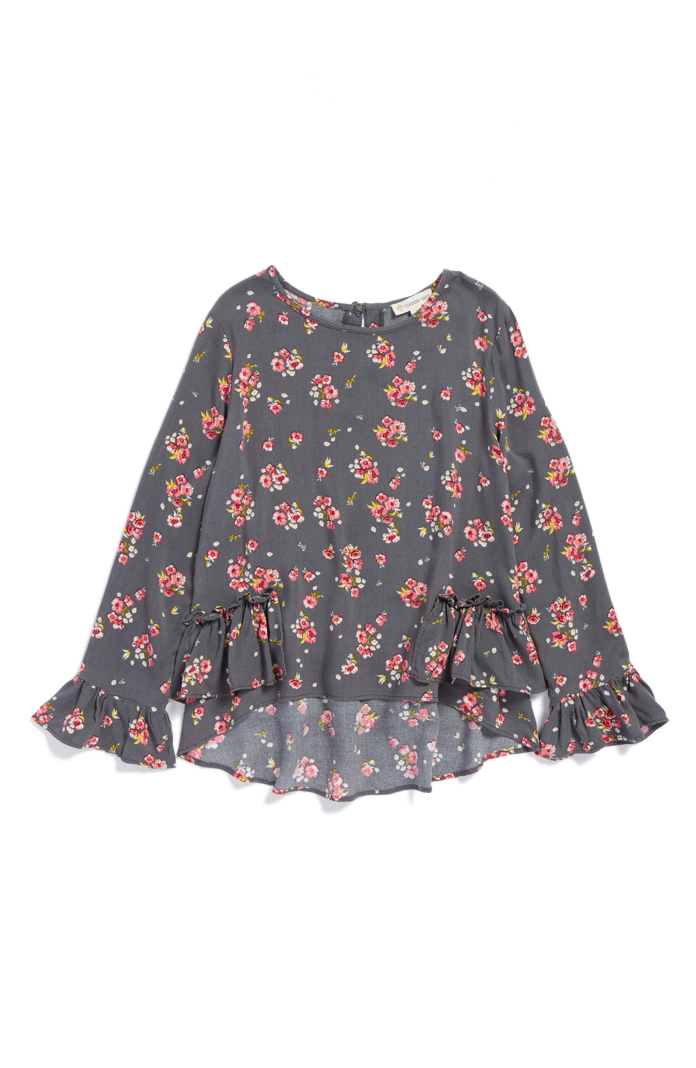 Main Image - Tucker + Tate Print Ruffle Top (Big Girls)
