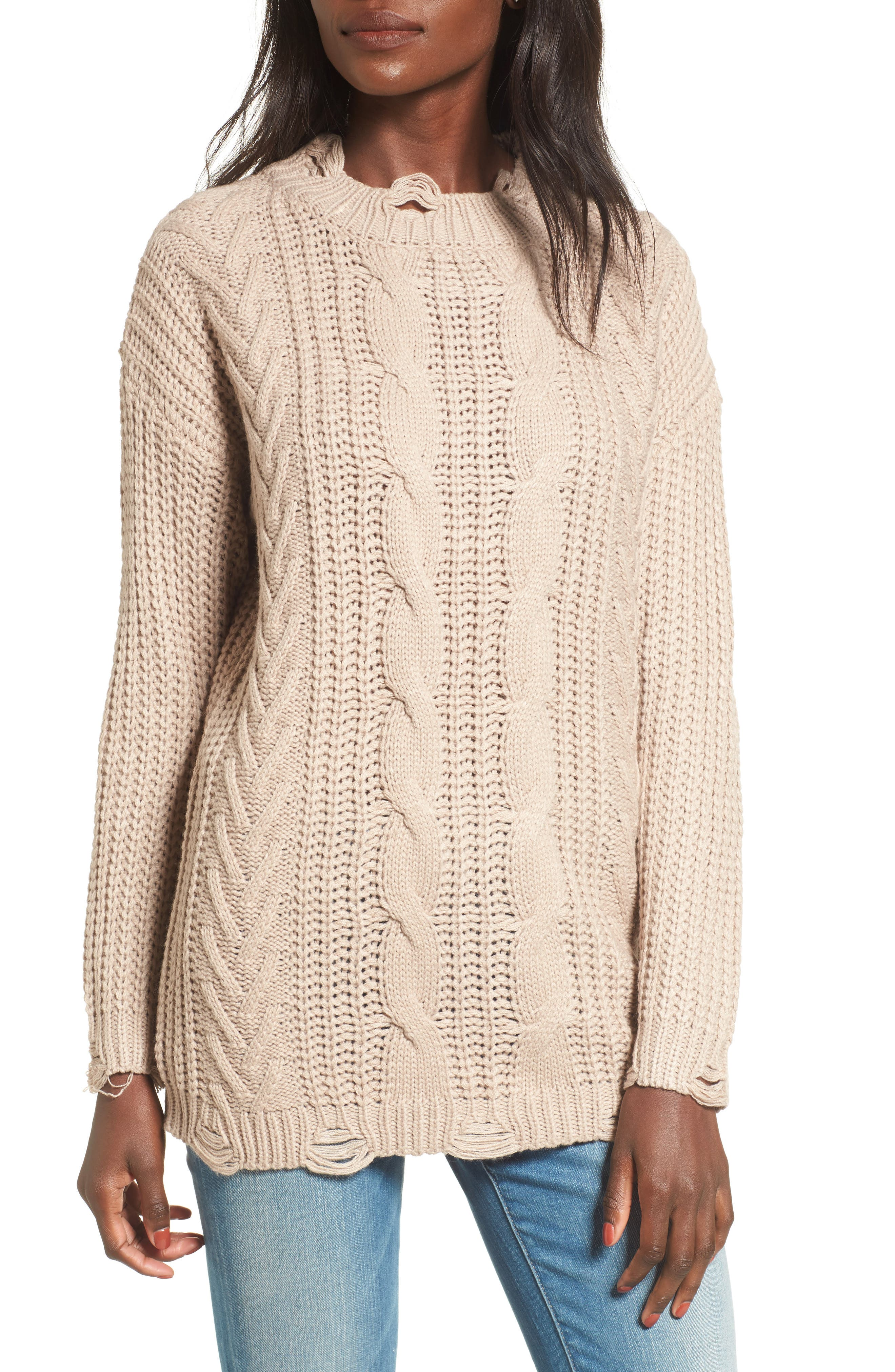 Distressed Cable Knit Sweater,                             Main thumbnail 1, color,                             Mocha