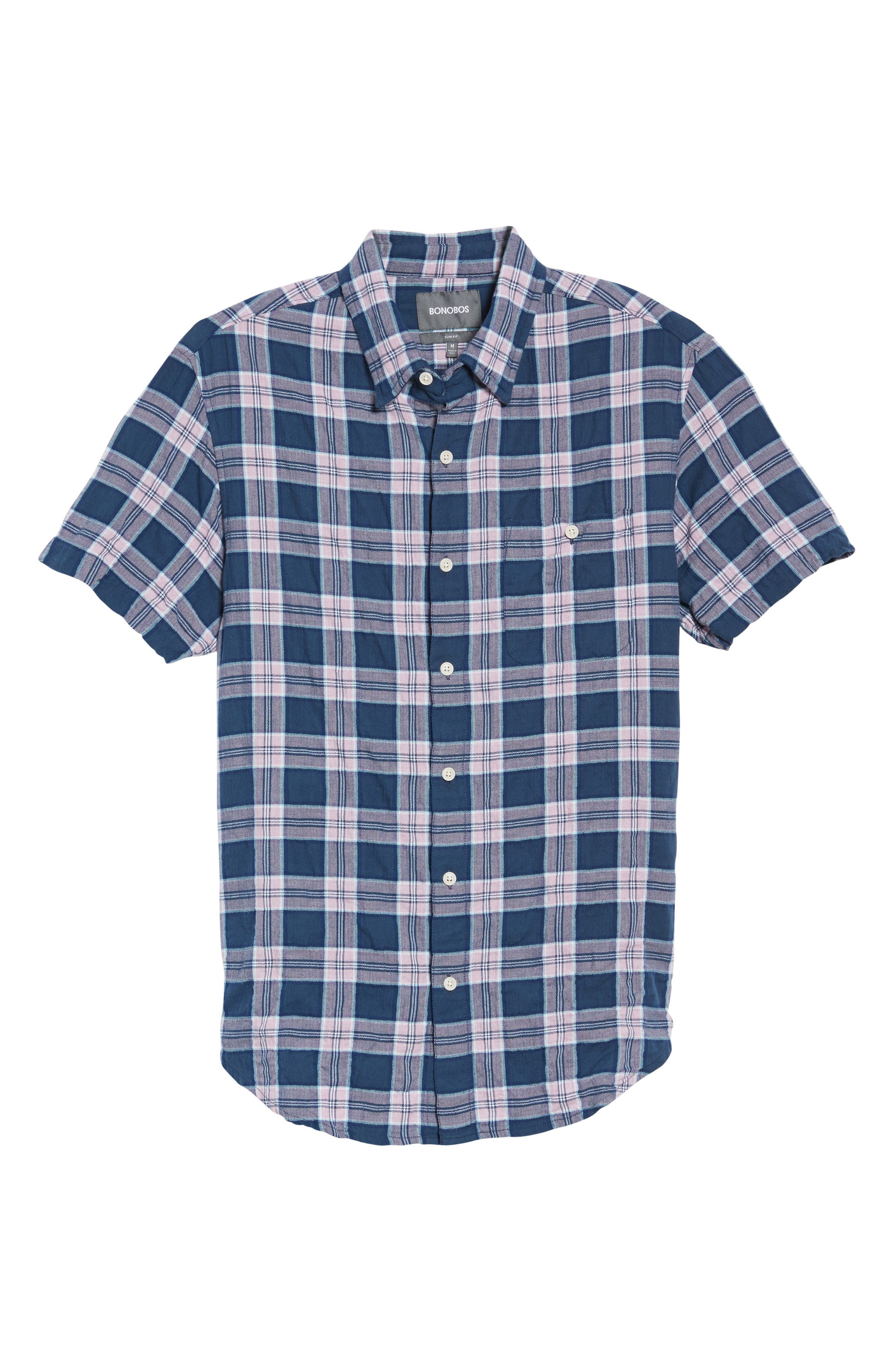Riviera Slim Fit Plaid Woven Shirt,                             Alternate thumbnail 6, color,                             Crinkle Blue Pine Plaid