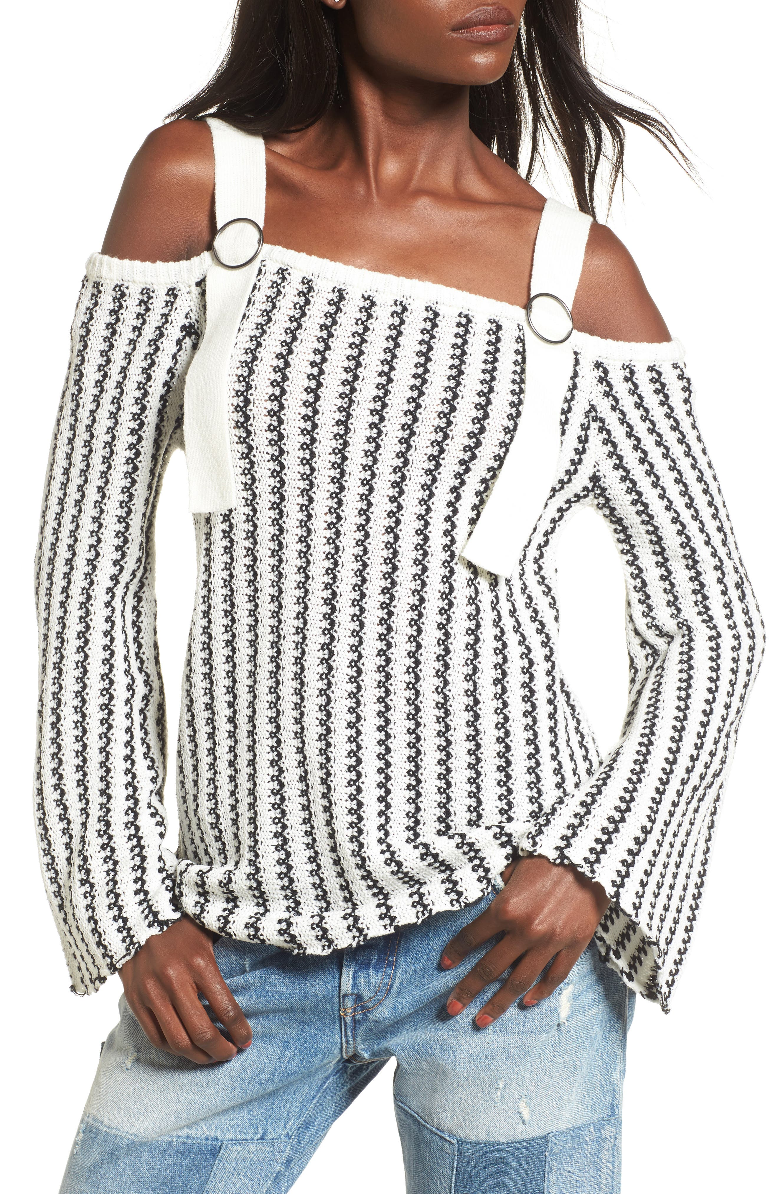 Buckle Strap Sweater,                             Main thumbnail 1, color,                             Ivory Black