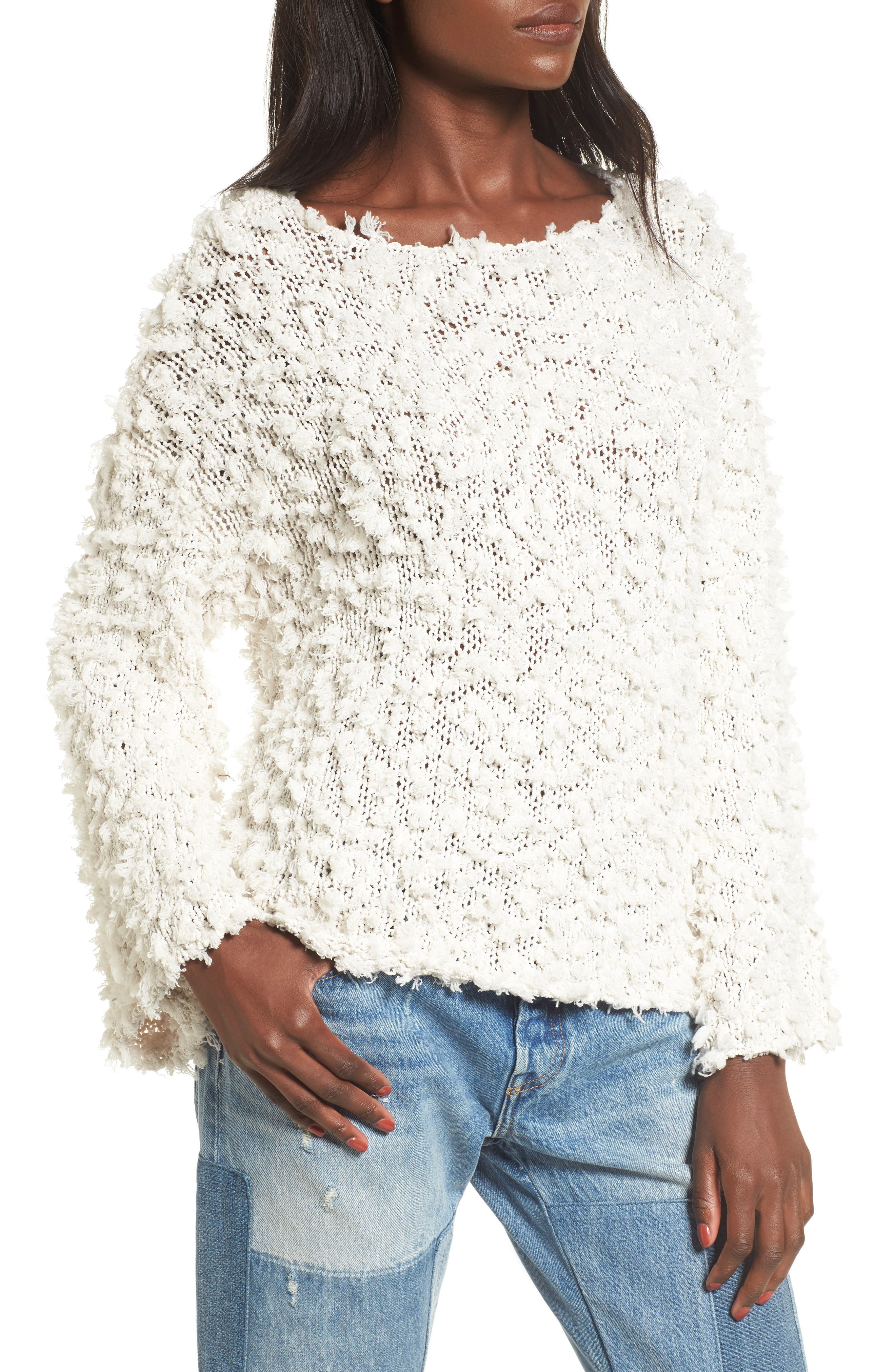 Nubby Boatneck Sweater,                         Main,                         color, Ivory