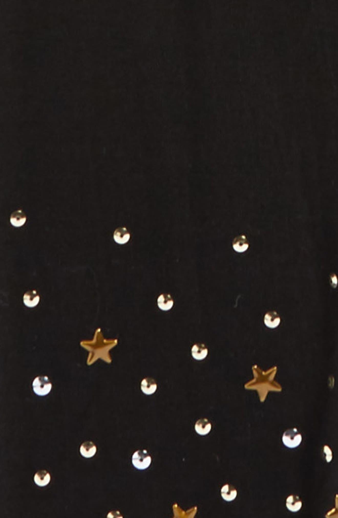 Star & Sequin Leggings,                             Alternate thumbnail 2, color,                             Black