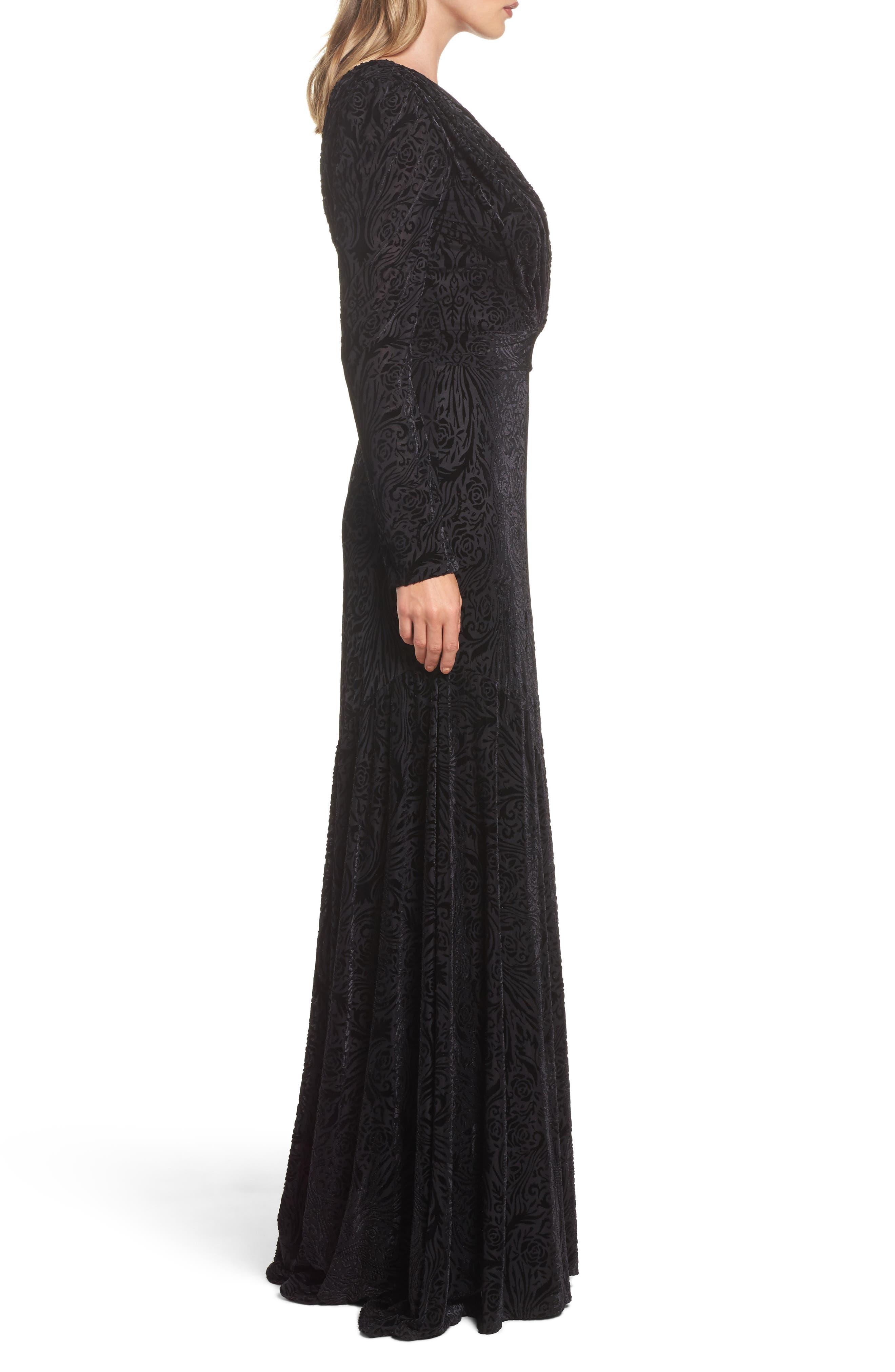 Plunge Burnout Gown,                             Alternate thumbnail 3, color,                             Black