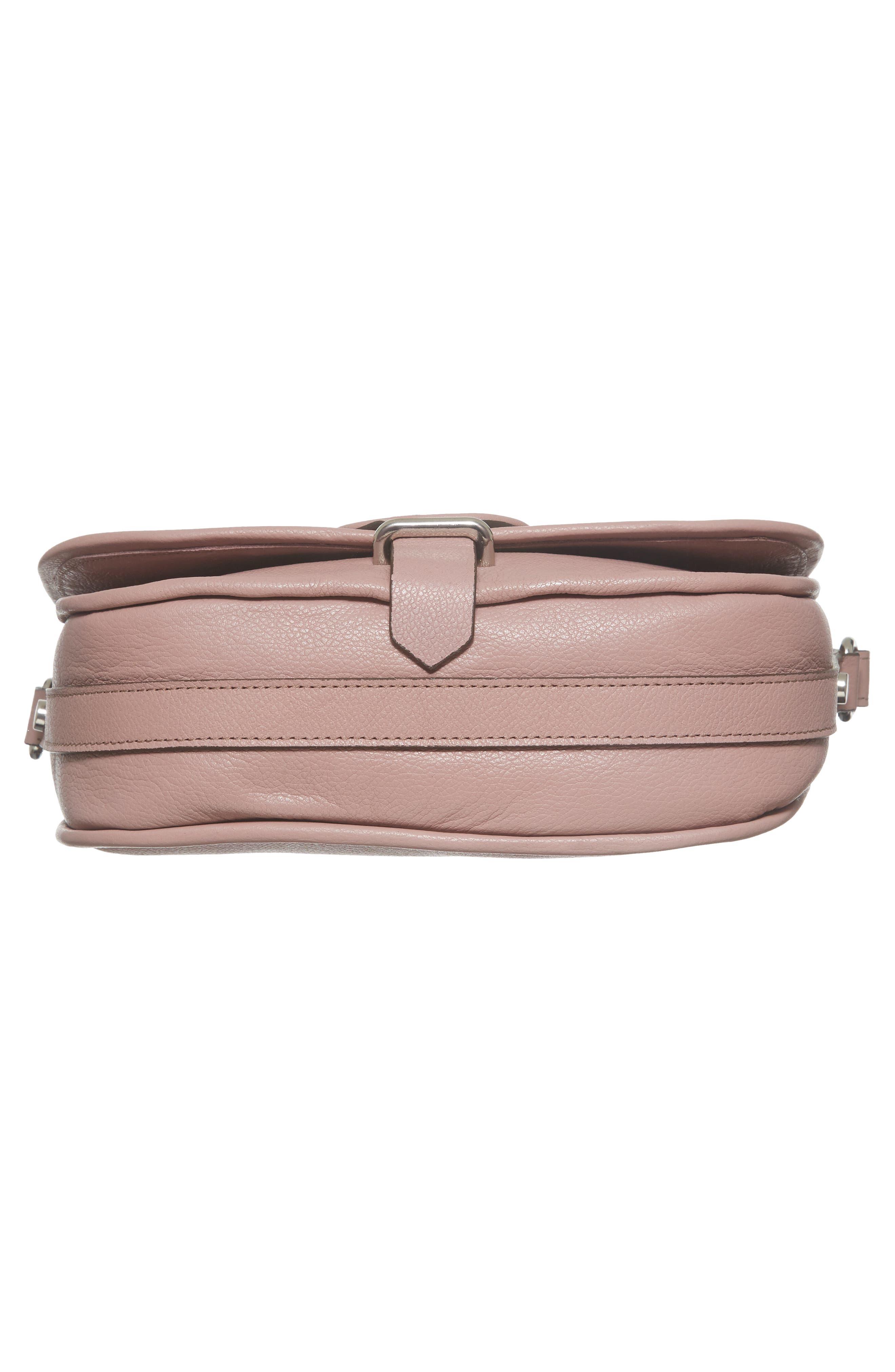 Premium Leather Studded Shoulder Bag,                             Alternate thumbnail 6, color,                             Blush