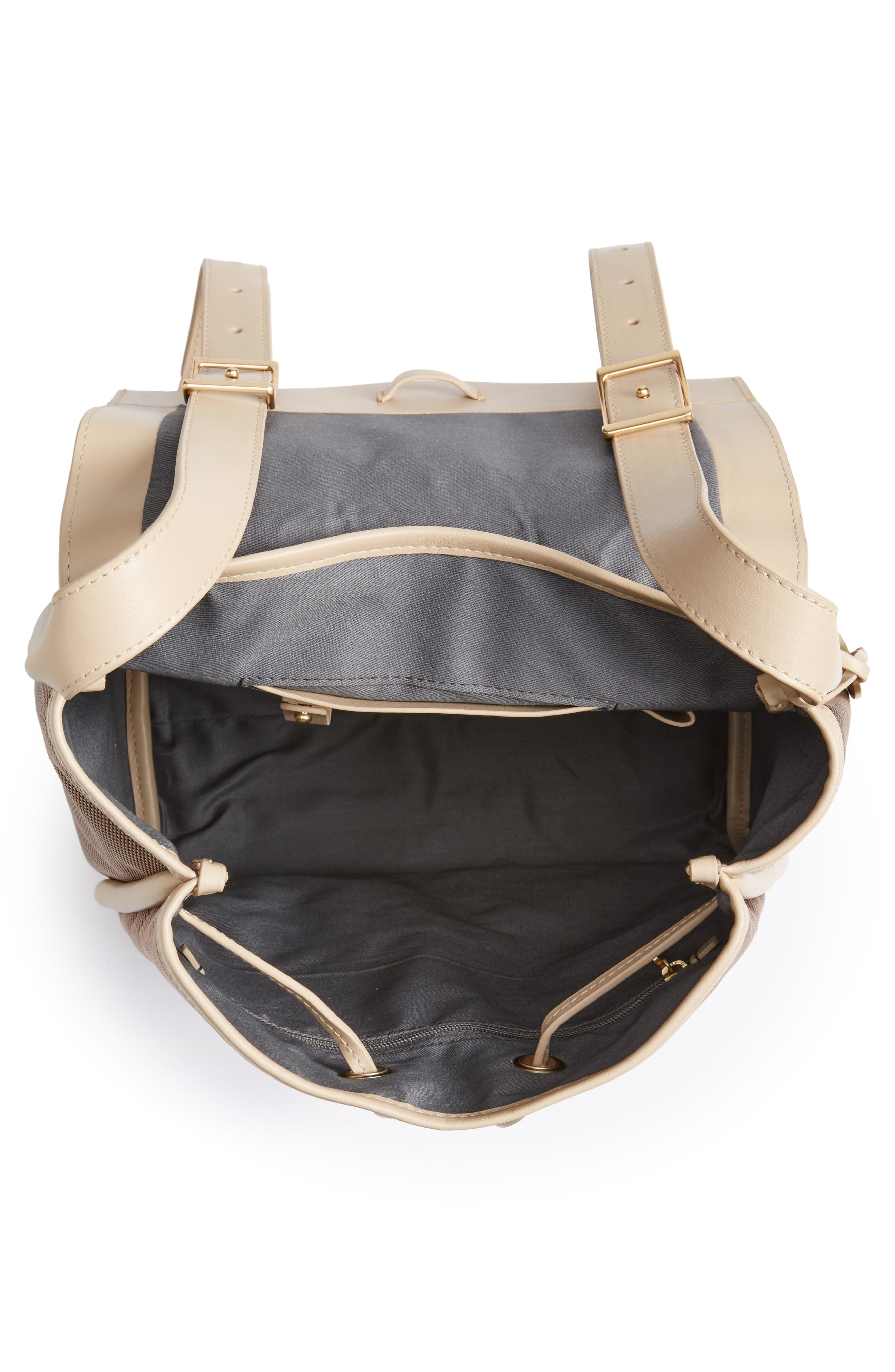 Ebba Leather & Canvas Backpack,                             Alternate thumbnail 3, color,                             Dark Khaki