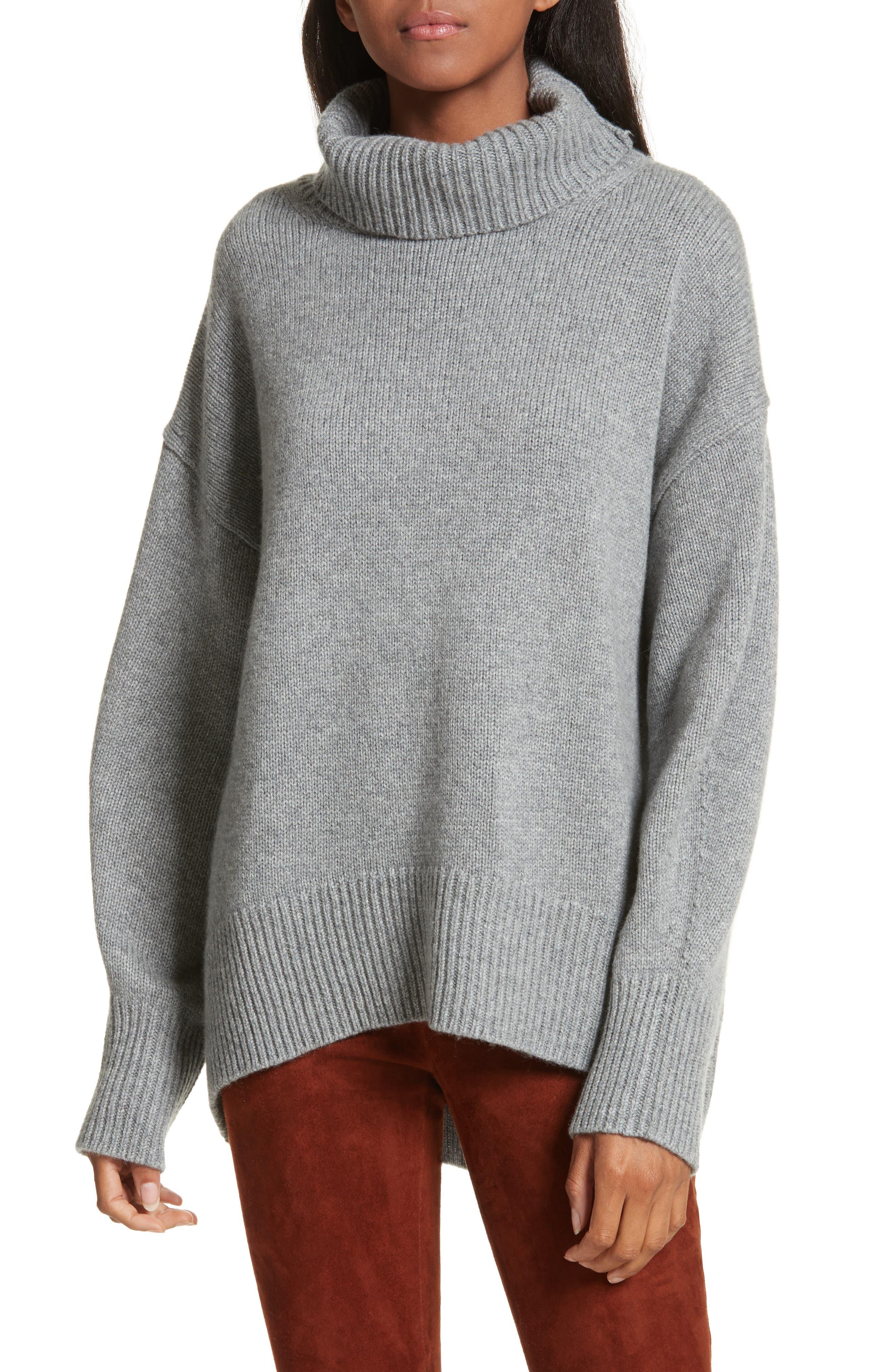 Turtleneck Cashmere Sweater,                         Main,                         color, Concrete