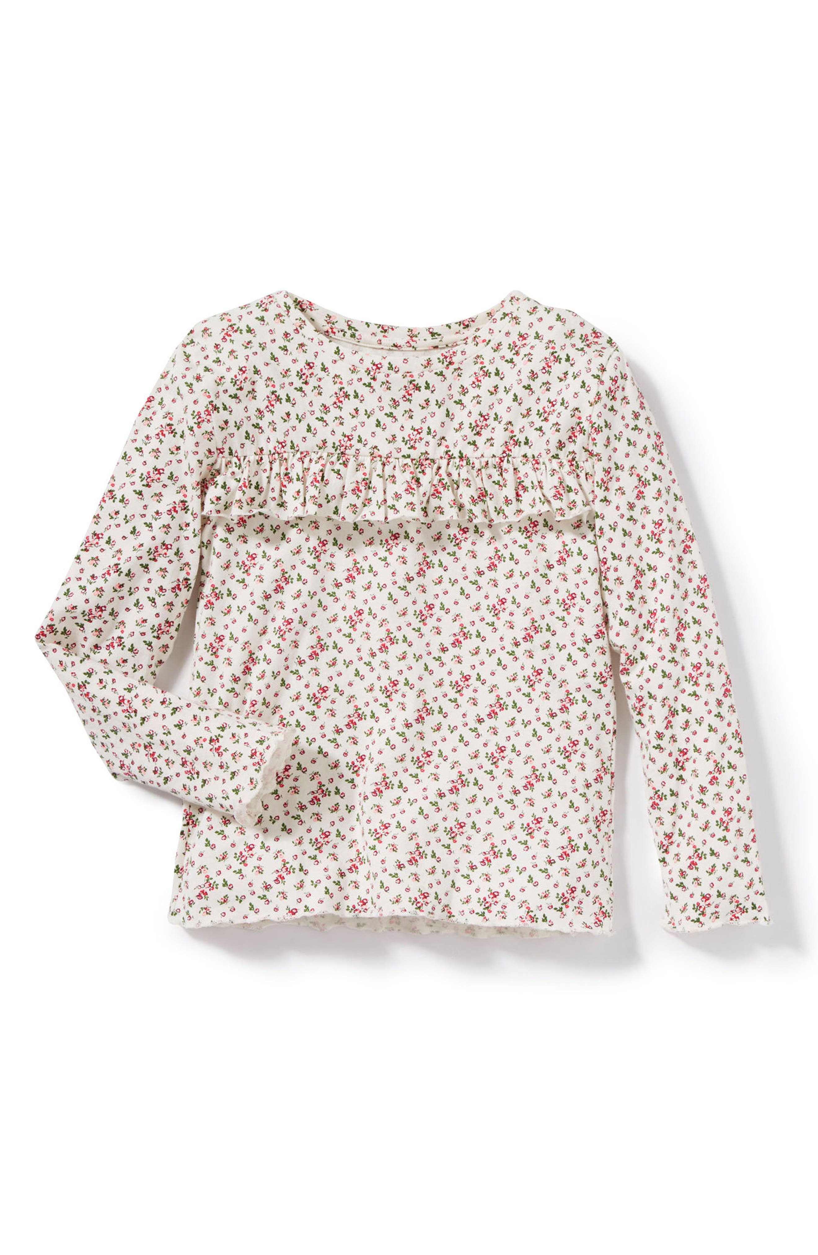 Ditsy Floral Print Tee,                         Main,                         color, Ivory