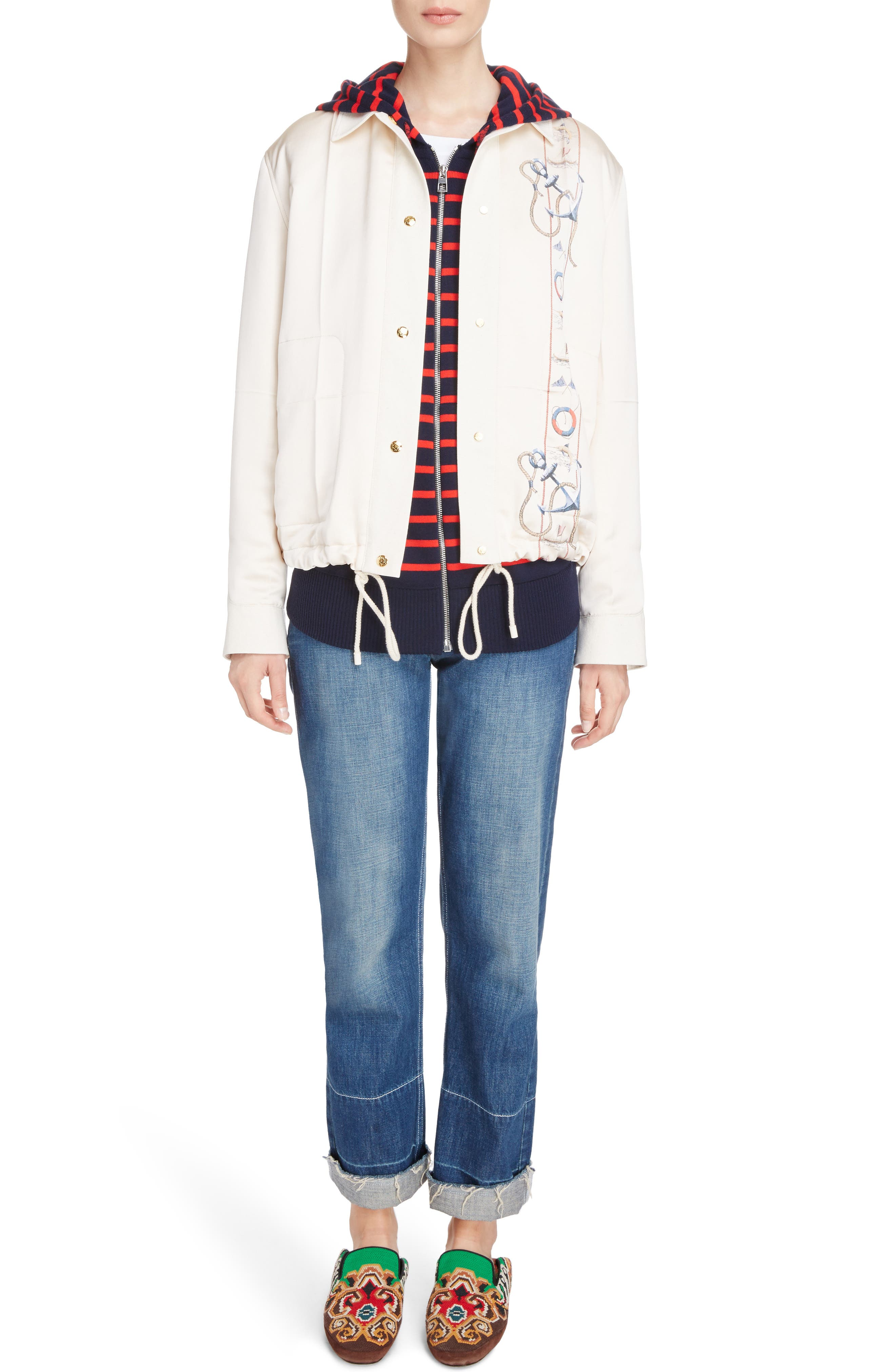 Embroidered Crop Straight Leg Jeans,                             Alternate thumbnail 2, color,                             Indigo