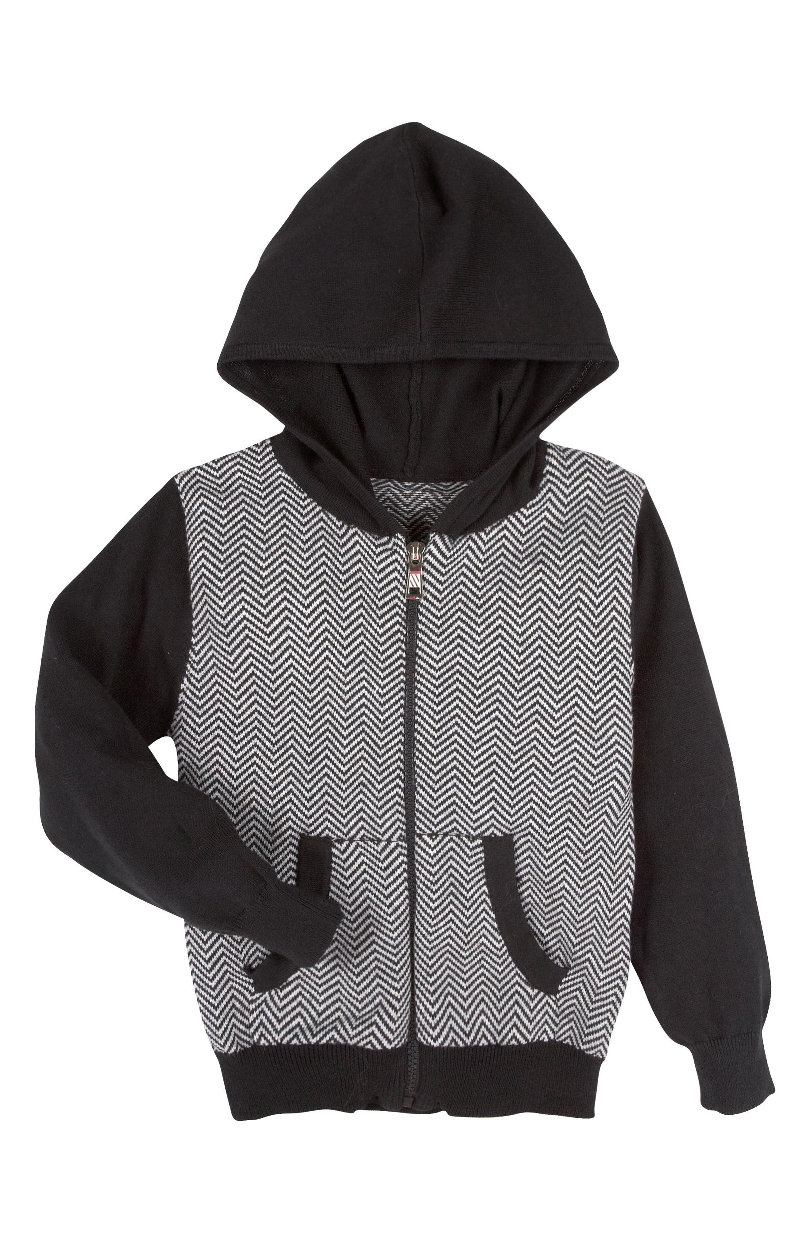 Herringbone Hoodie,                         Main,                         color, Black