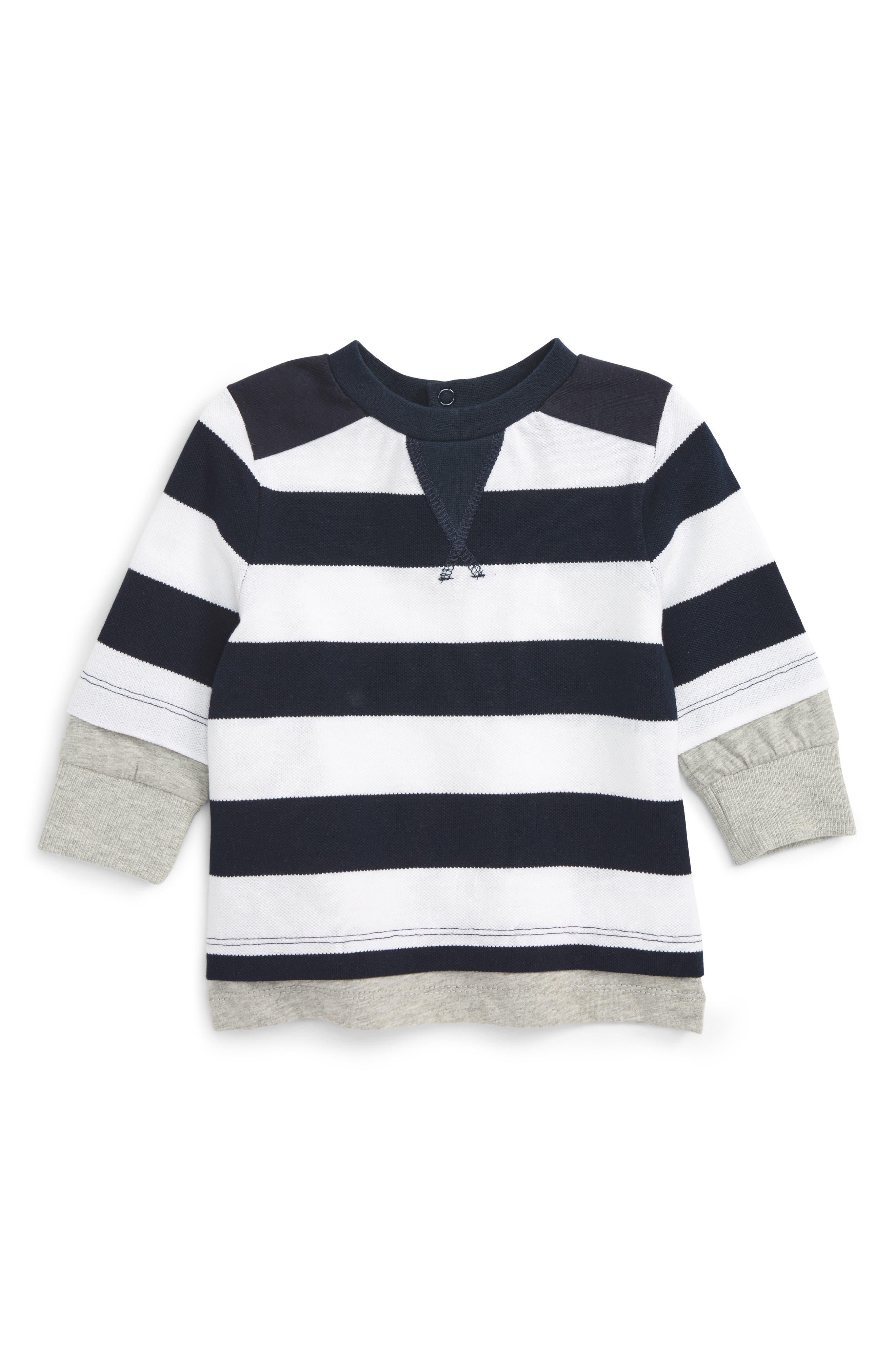 Alternate Image 1 Selected - Bardot Junior Stripe Shirt (Baby Boys & Toddler Boys)