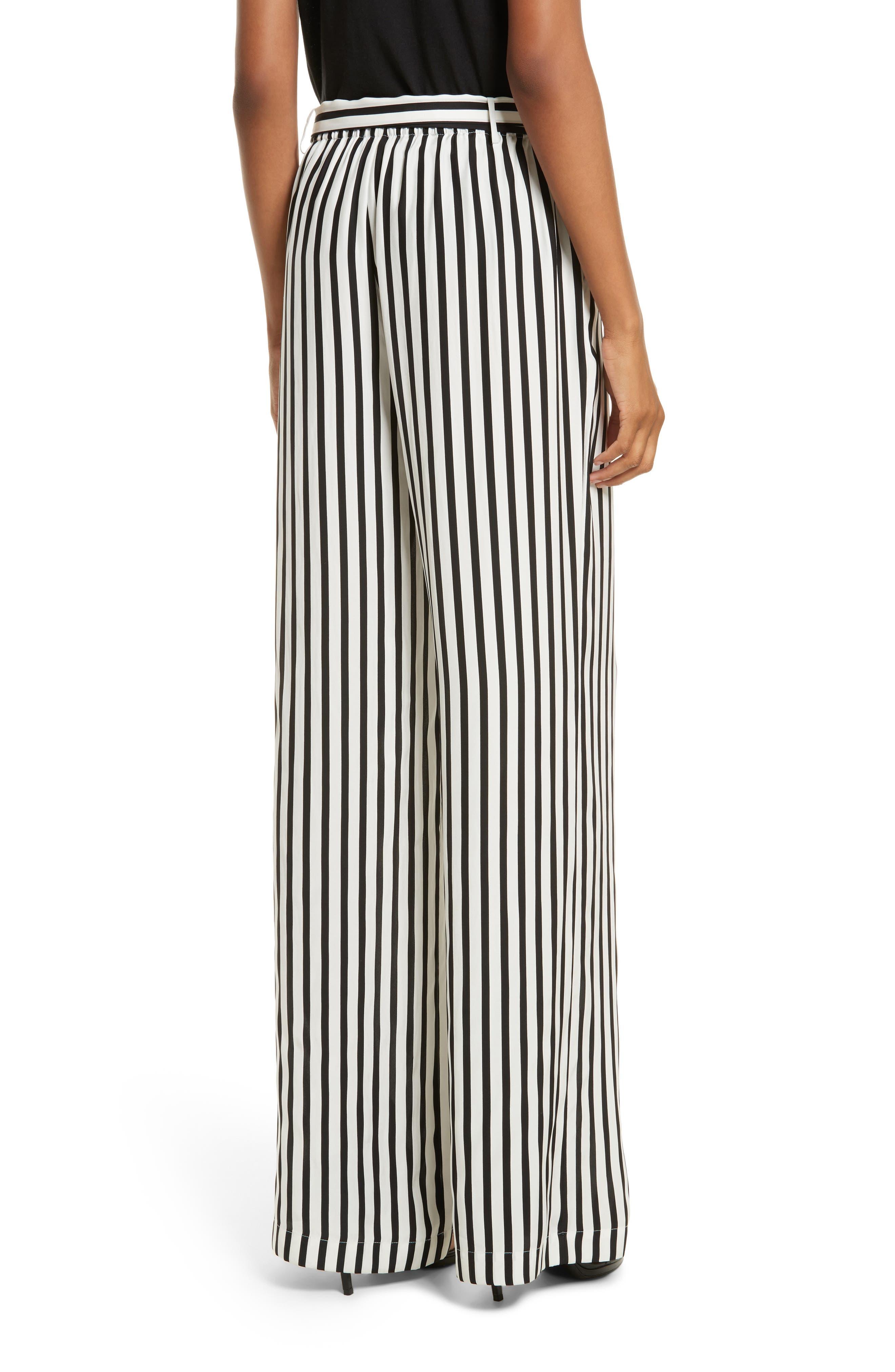 Stripe Wide Leg Silk Pants,                             Alternate thumbnail 3, color,                             Noir Multi