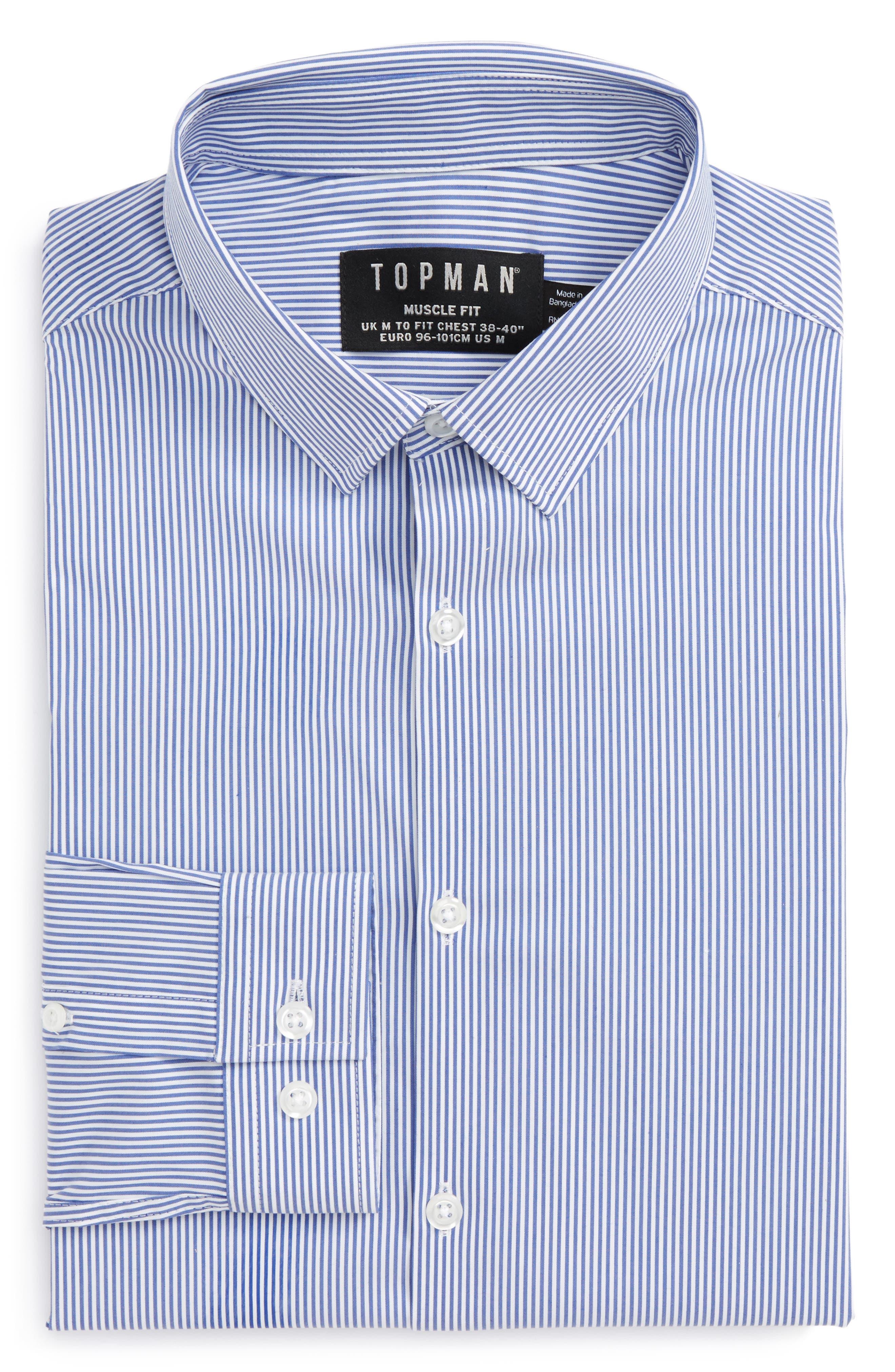 Main Image - Topman Muscle Fit Smart Shirt