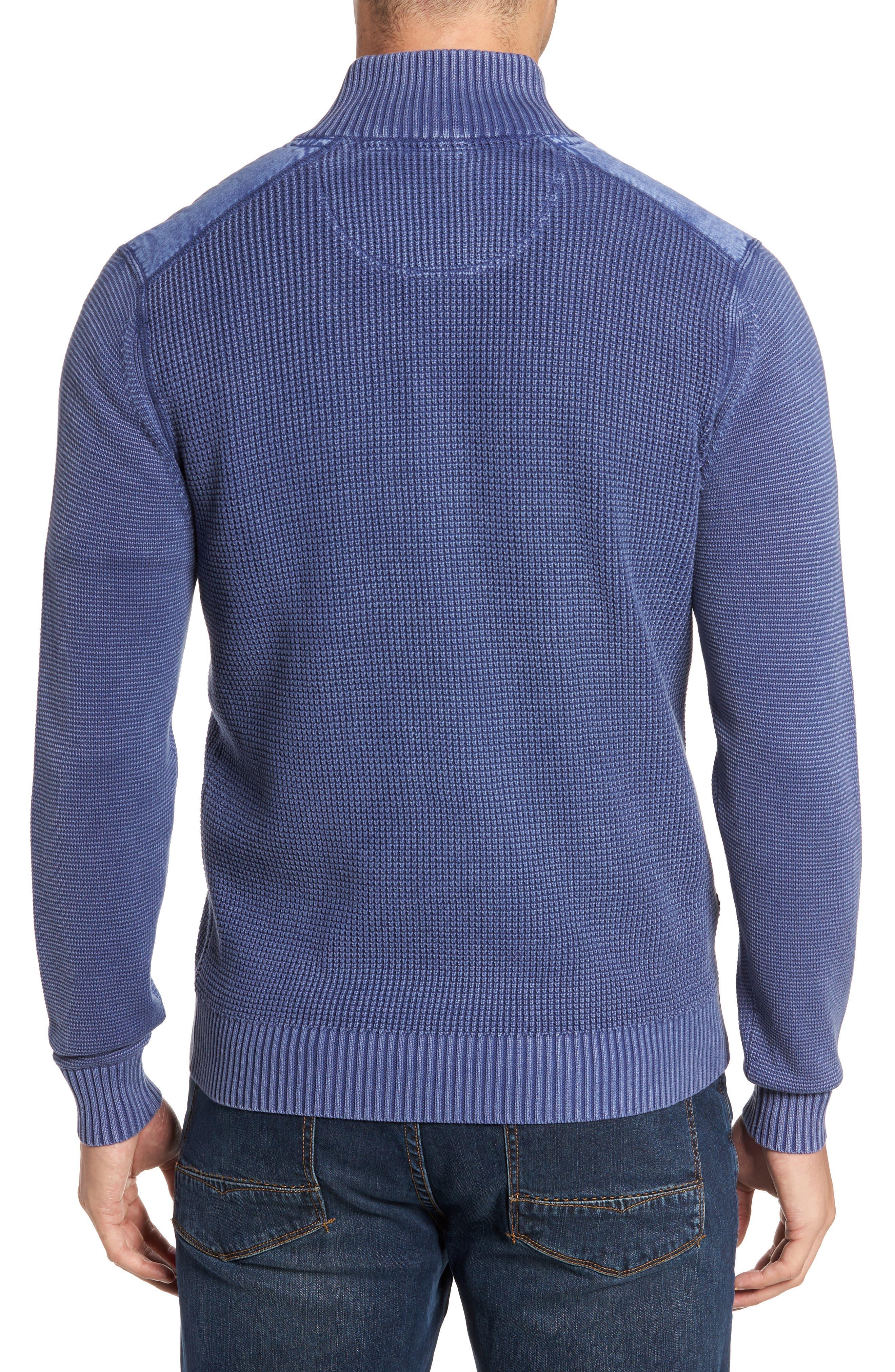 Coastal Shores Quarter Zip Sweater,                             Alternate thumbnail 2, color,                             Downpour
