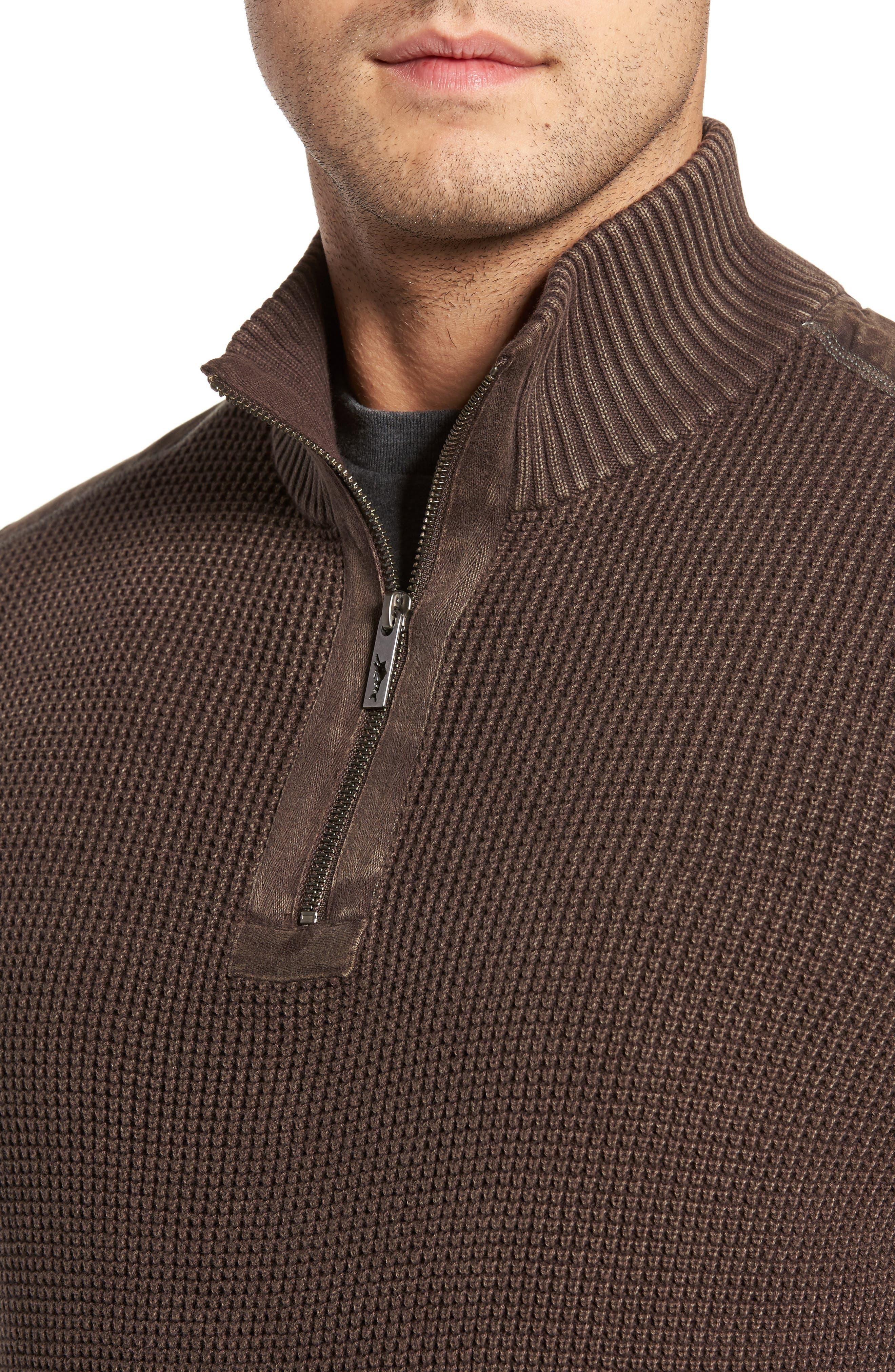 'Coastal Shores' Quarter Zip Sweater,                             Alternate thumbnail 4, color,                             Tilth