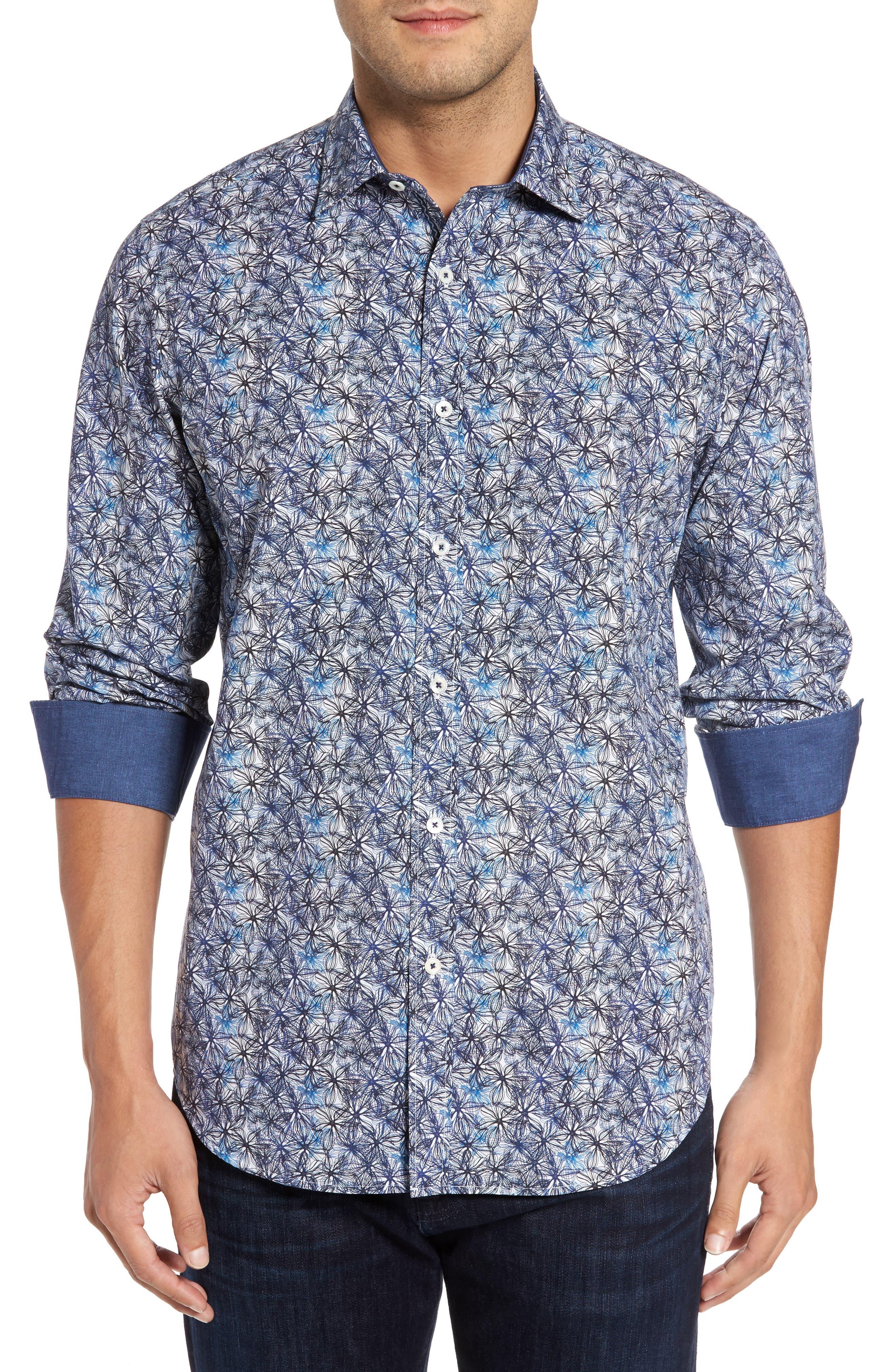 Alternate Image 1 Selected - Bugatchi Trim Fit Print Sport Shirt